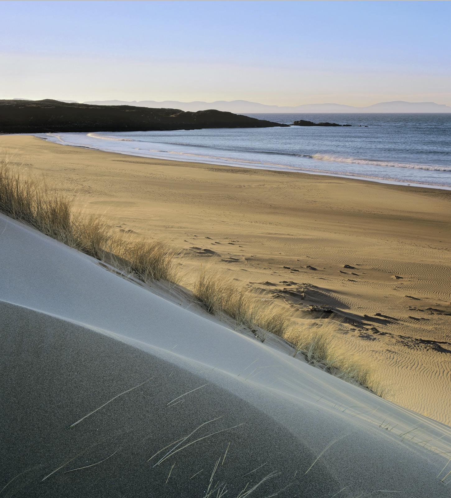Dune Red Point, Red Point, Torridon, Scotland, enchanted, wind blown, dunes, sand, patterns, beach, cold, blue, light, b, photo