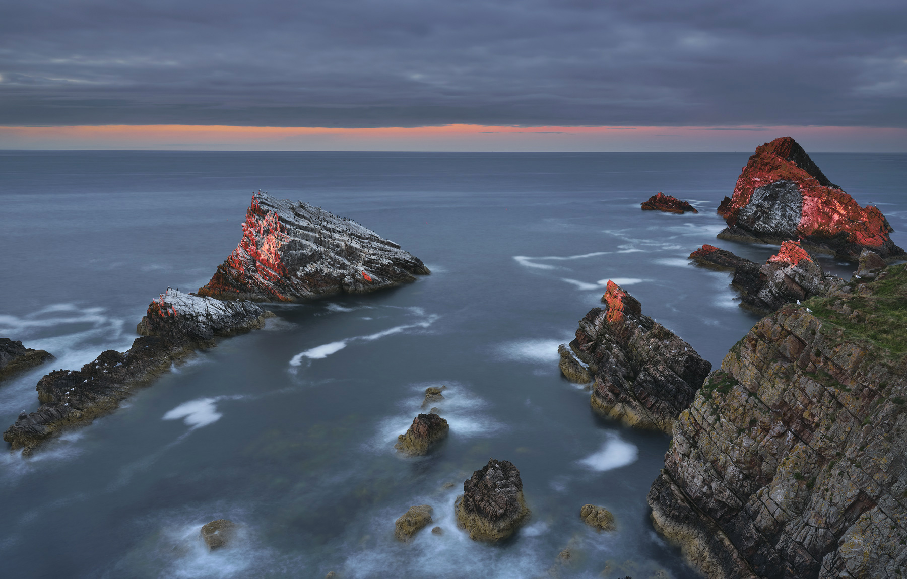 Dying Embers Portknockie, Portknockie, Moray, Scotland, flickering, embers, feathered, crags, Bird shit, Bowfiddle rock, photo
