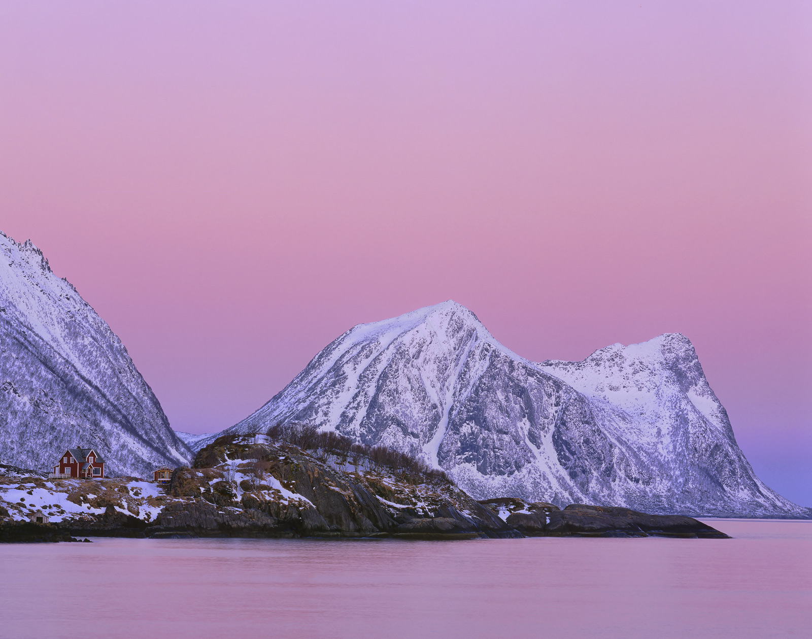 On the very first morning of our stay in Hamn we were all up at first light to watch a stunning pink sunrise mature at the anti...