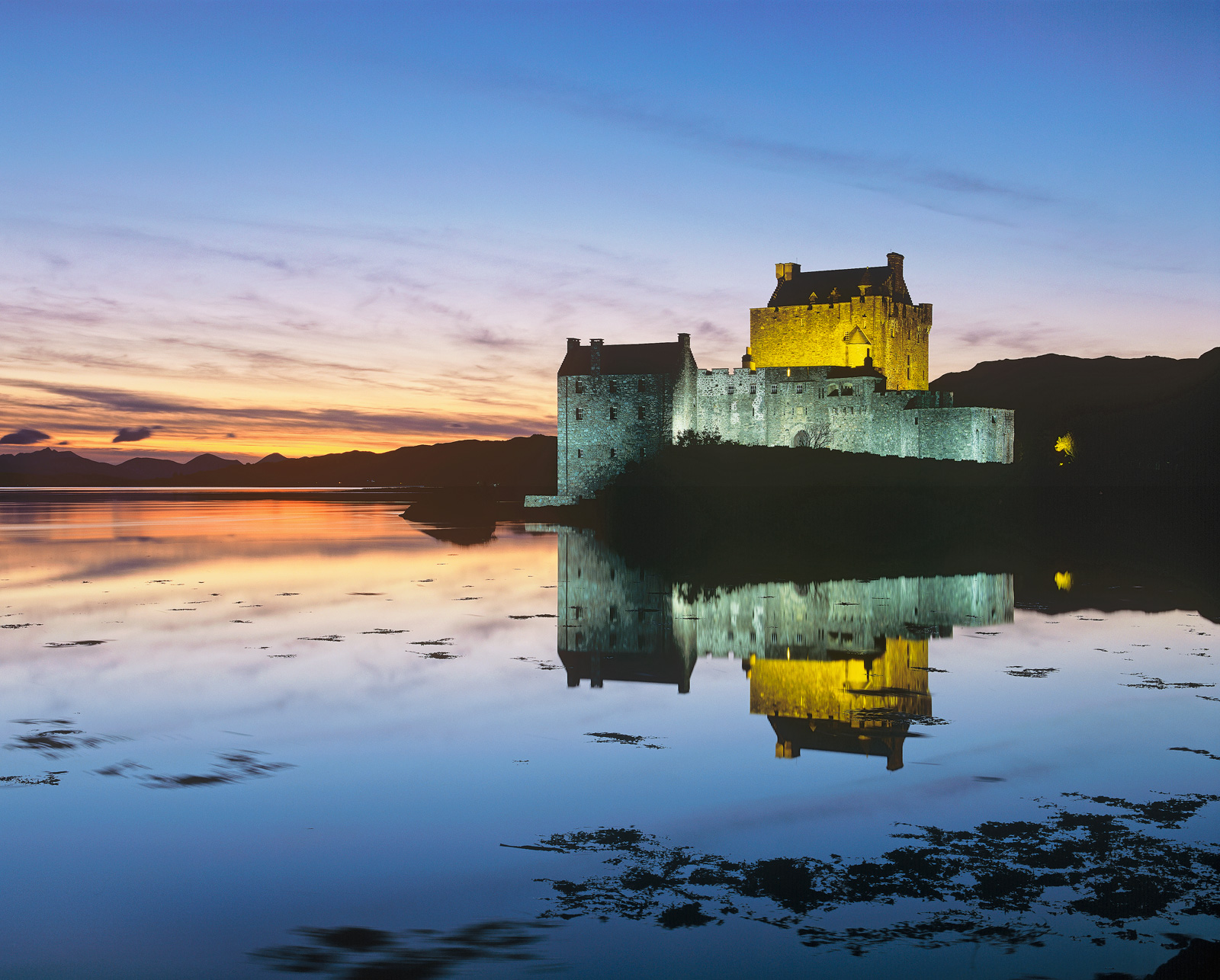 One of the most photographed castles in Scotland but never have I seen it so perfectly mirrored with such a gorgeous sky behind...