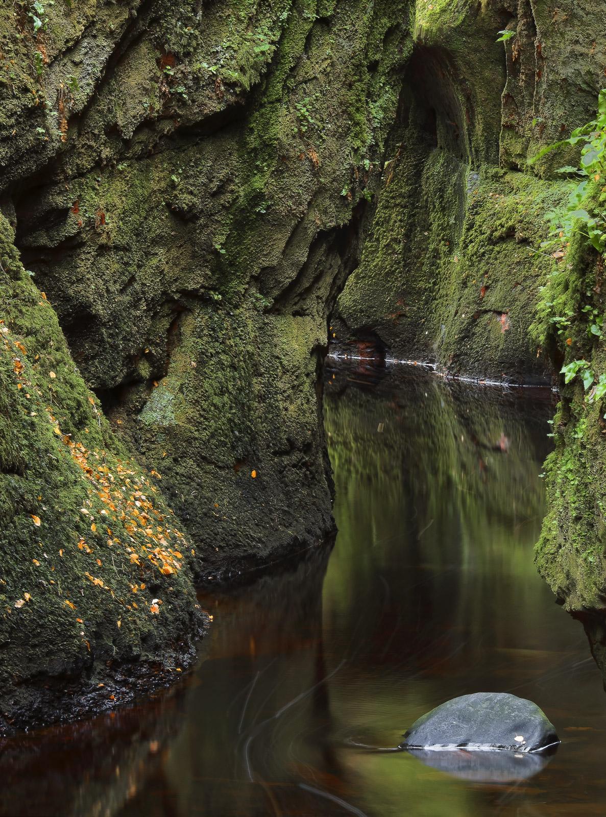 Emerald Gorge, Finnich Glen, Trossachs, Scotland, curtains, hanging, moss, gorge, meandering, lost, grey, stone, peaty, , photo