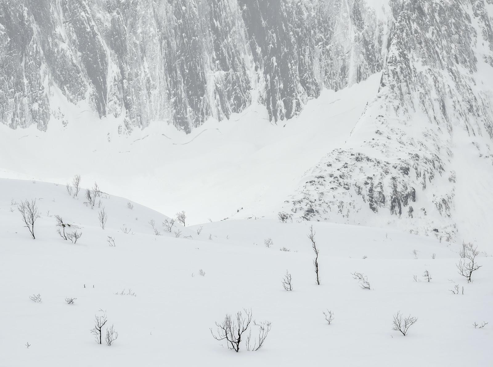 Engraving Senja, Melfjordbotn, Senja, Norway, impressive, charcoal, etched, slopes, ice, encrusted, rock, drifted, snow , photo