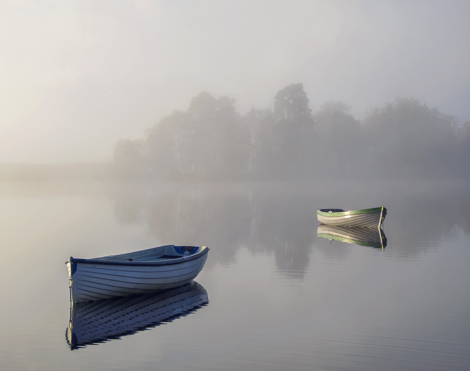 Ethereal 2, Loch Rusky, Trossachs, Scotland, autumnal, view, concealed, revealed, simplifies, composition, boat, highlig, photo