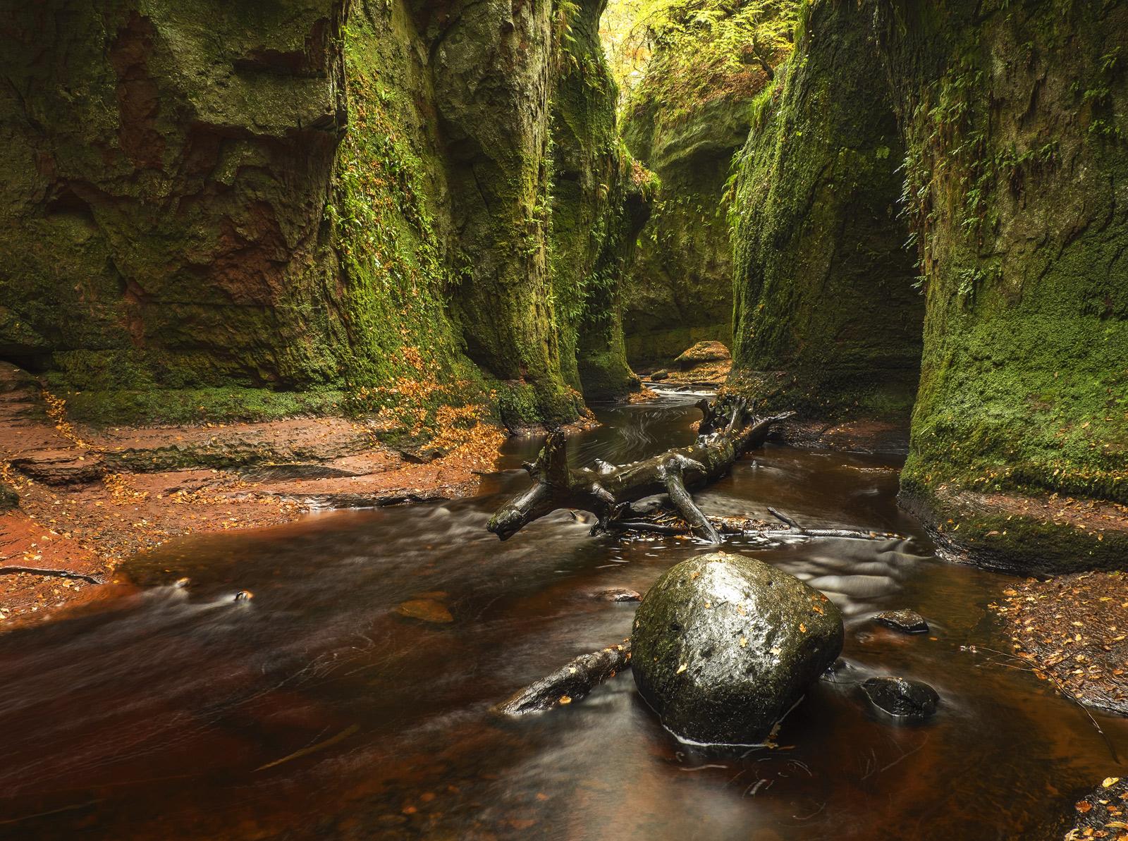 Evolution, Finnich Glen, Trossachs, Scotland, deep, dark, gorge, autumn, soft, rain, greens, foliage, sandstone, streams, photo