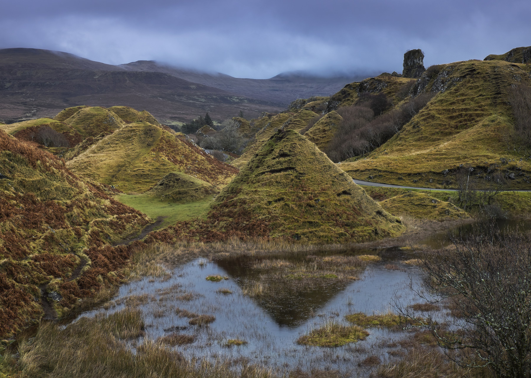 Fairy Cones, Fairy Glen, Skye, Scotland, magical, mounds, conical, eroded, sheep, reflections, winter, heavy cloud, suns, photo