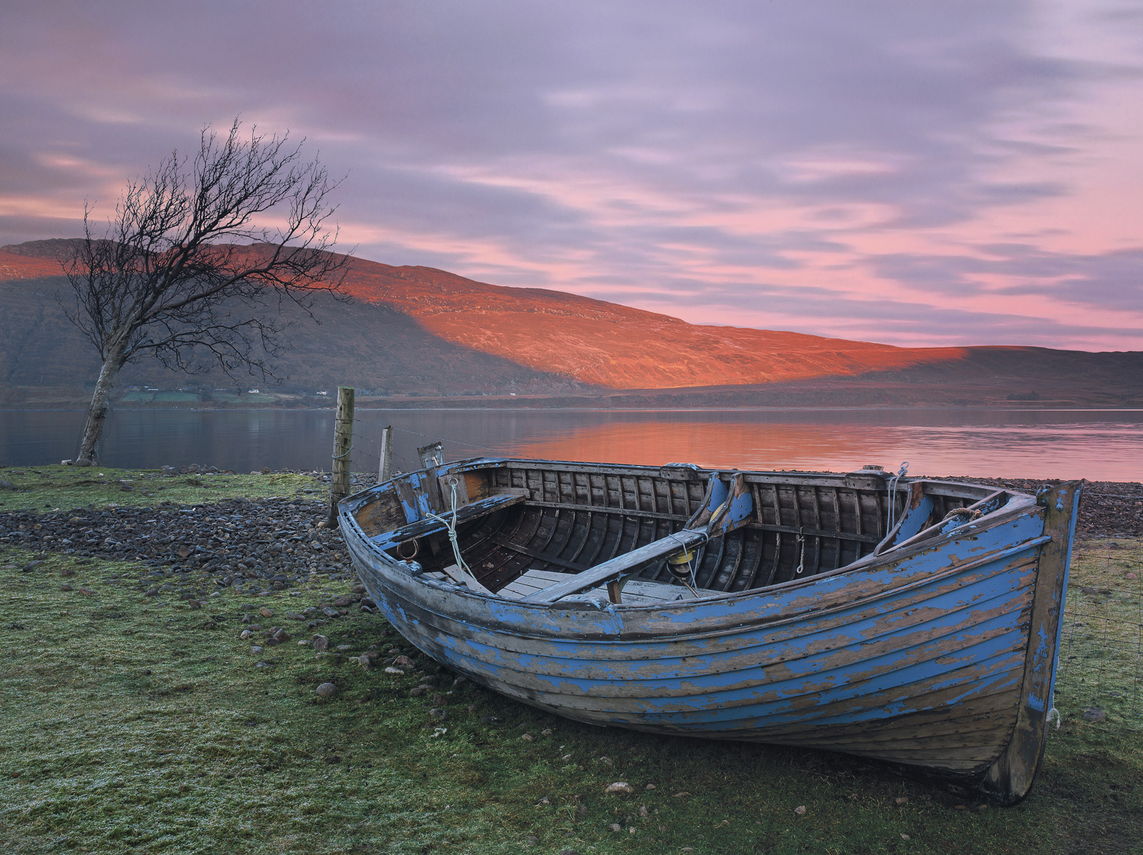 This old blue row boat seems to have been here for years and rarely moves but it is situated next to a single windblown old tree...
