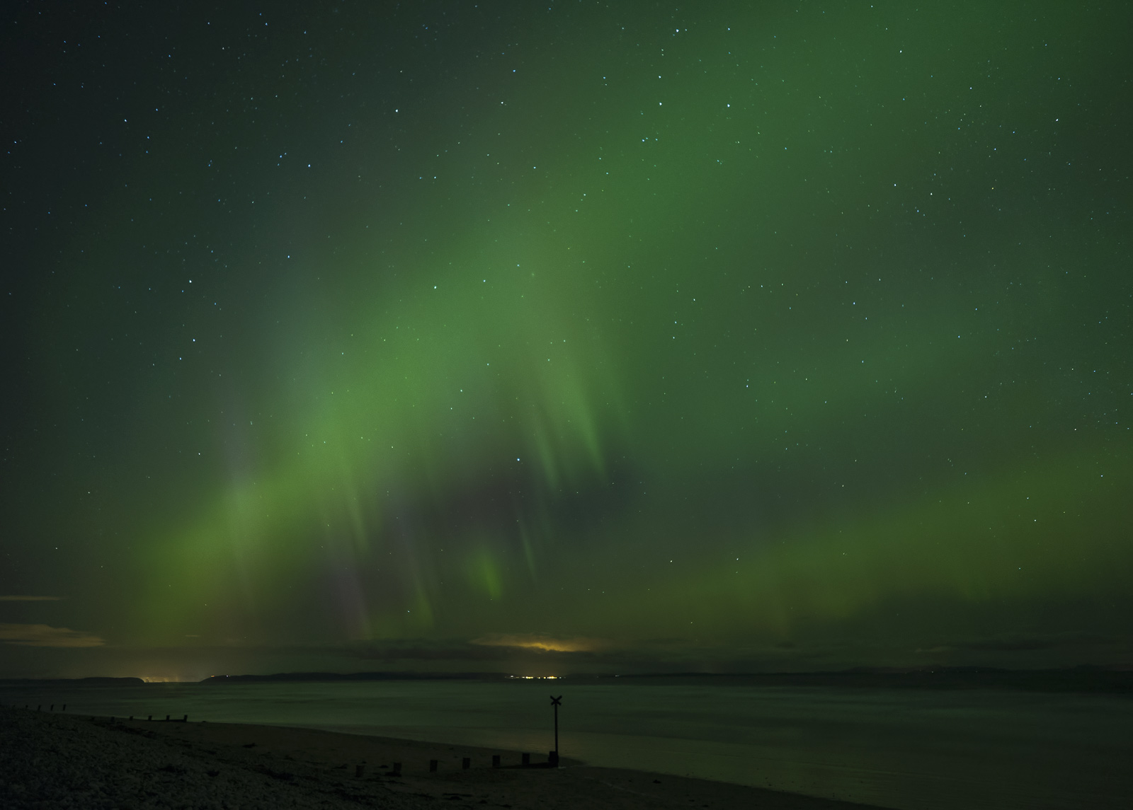 During the hour or so my son and I visited Findhorn Bay in response to an alert for a decent display of Northern Lights, at least...