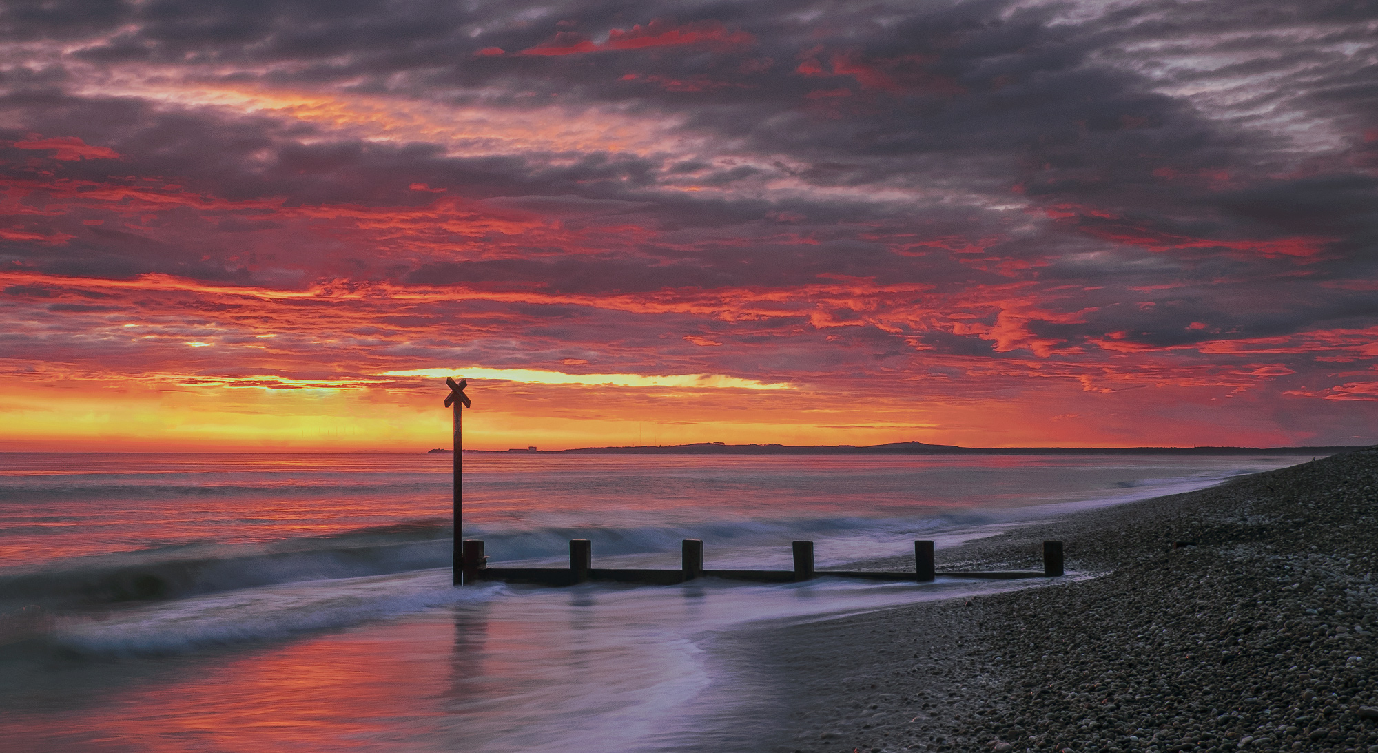 Findhorn Firestorm Pano, Findhorn, Moray, Scotland, beautiful, light, fishing, town, Burghead, groyne, post, silhouetted, photo