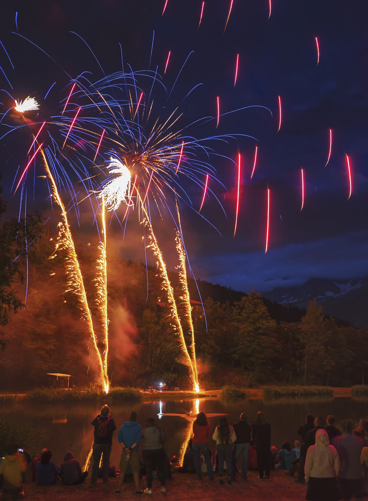 Fireworks 11, Les Houches, Chamonix, France, Bastille Day, town, village, epic, fantastic, displays, darkness, lake, aud, photo