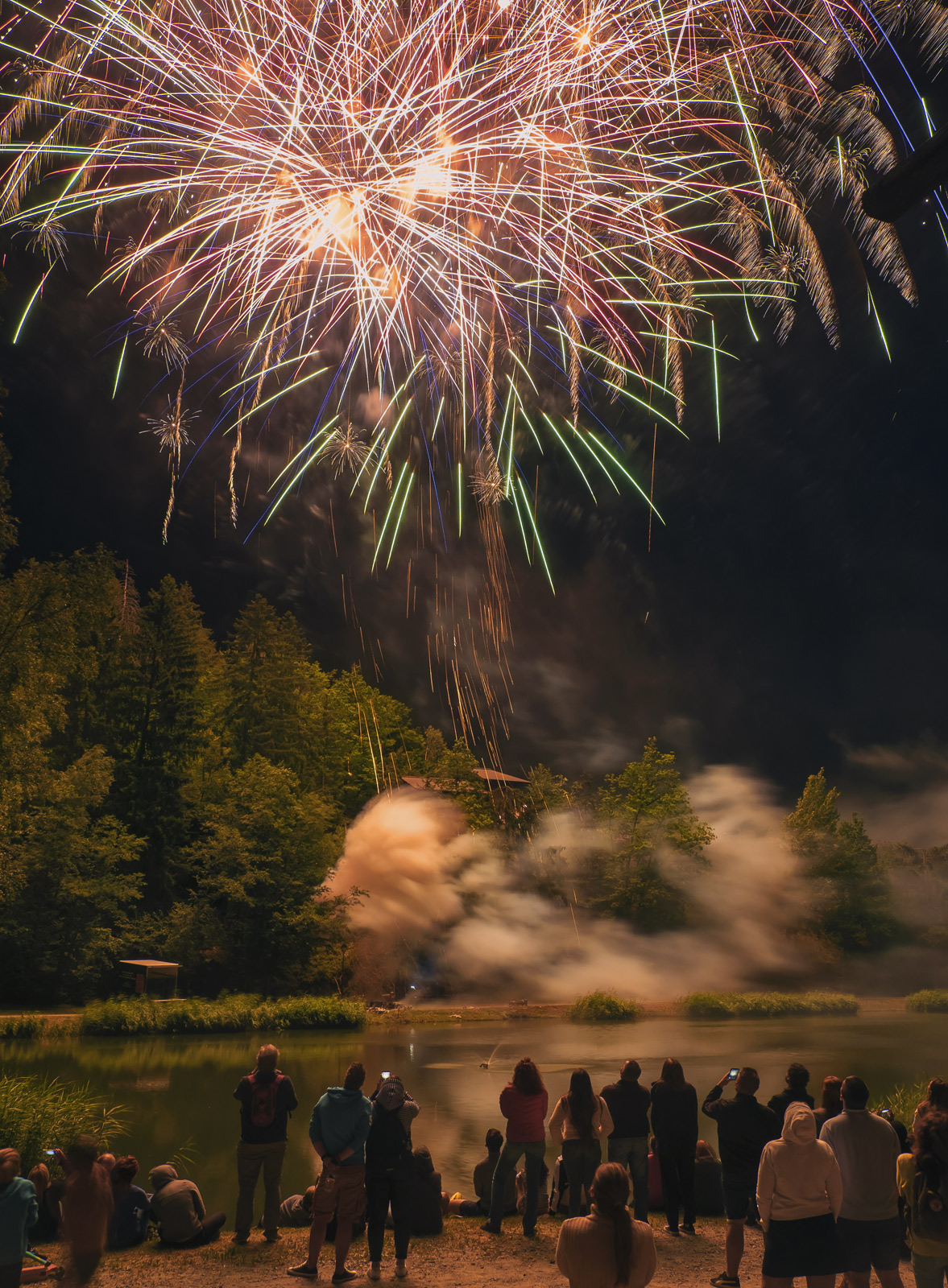 Fireworks 12, Les Houches, Chamonix, France, town, village, firework, display, epic, fantastic, lake, Bastille Day, photo