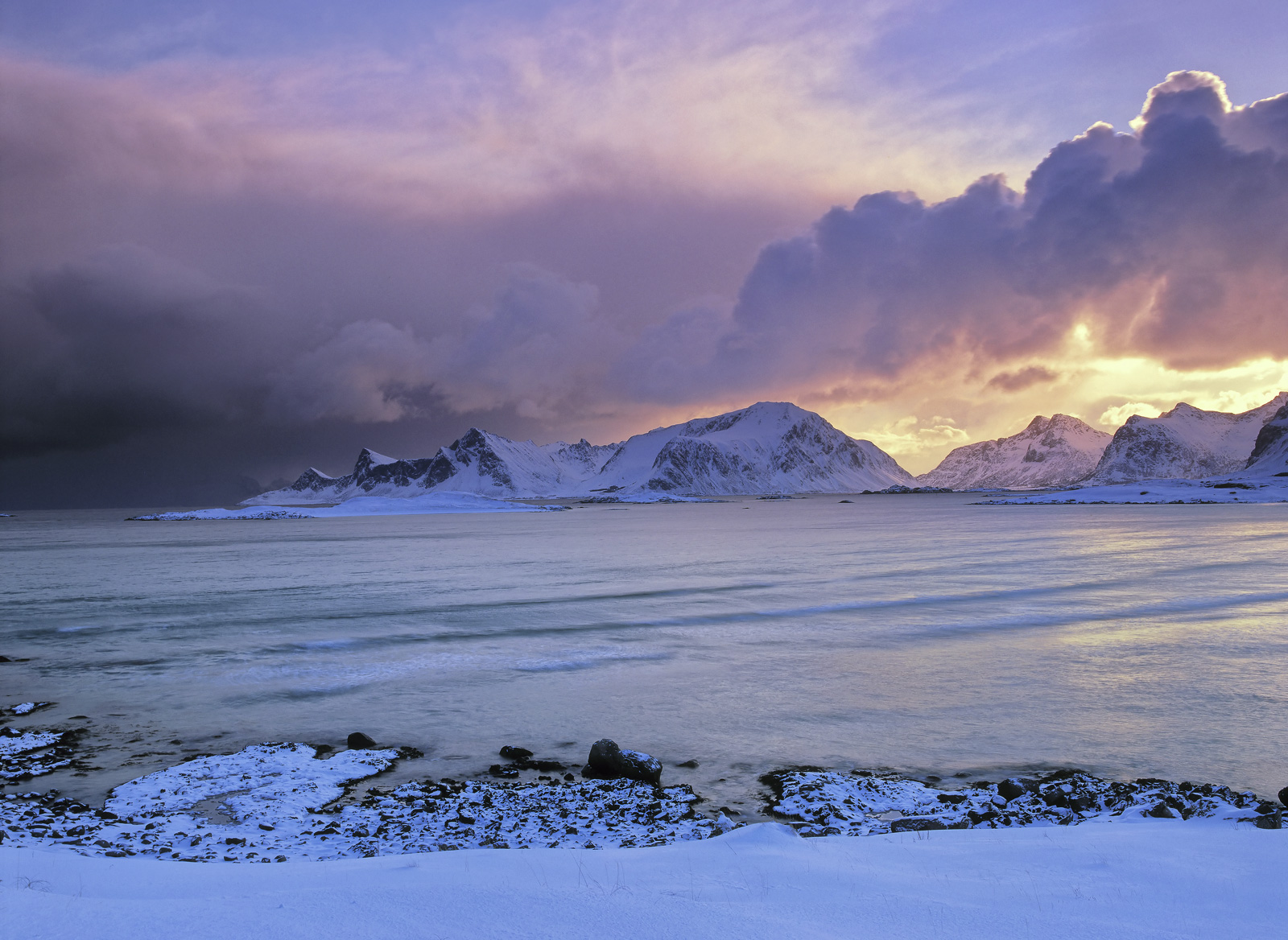 First Light Yttresand, Yttresand, Lofoten, Norway, peaks, spectacular, sunrise, snow, reflecting, blue, vivid, storm , photo