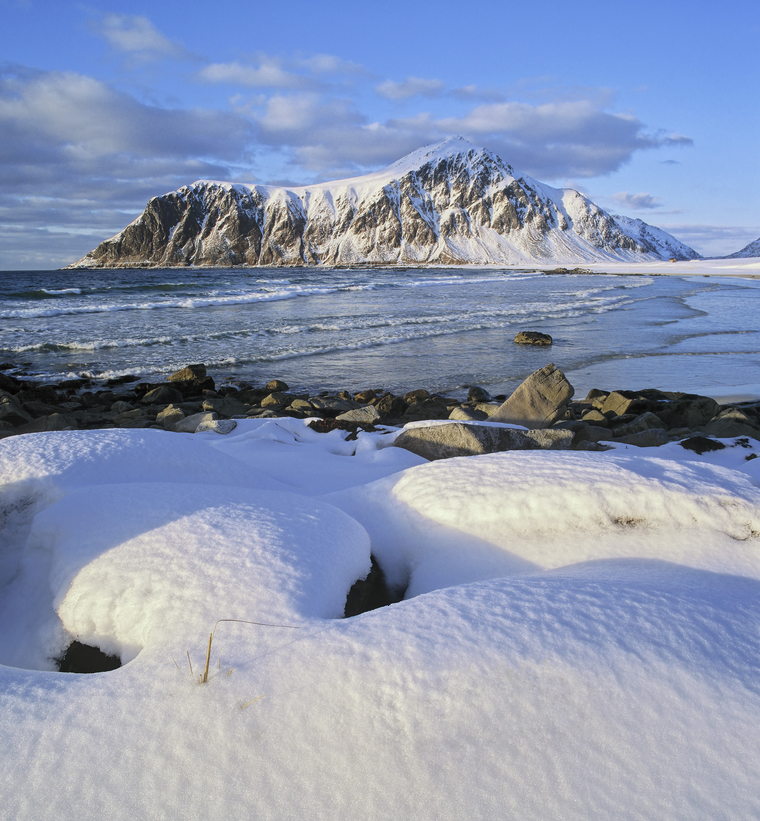 Flakstad Snow Pillows, Flakstad, Lofoten, Norway, gorgeous, angled, sunlight, grazed, pillows, snow, boulders, beach, ba, photo