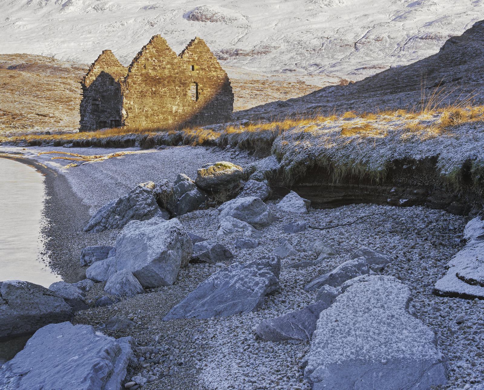 Frozen Ruin, Loch Assynt, Assynt, Scotland, derelict, ruin, castle, history, winter, shingle, bay, rime, blue, building, photo