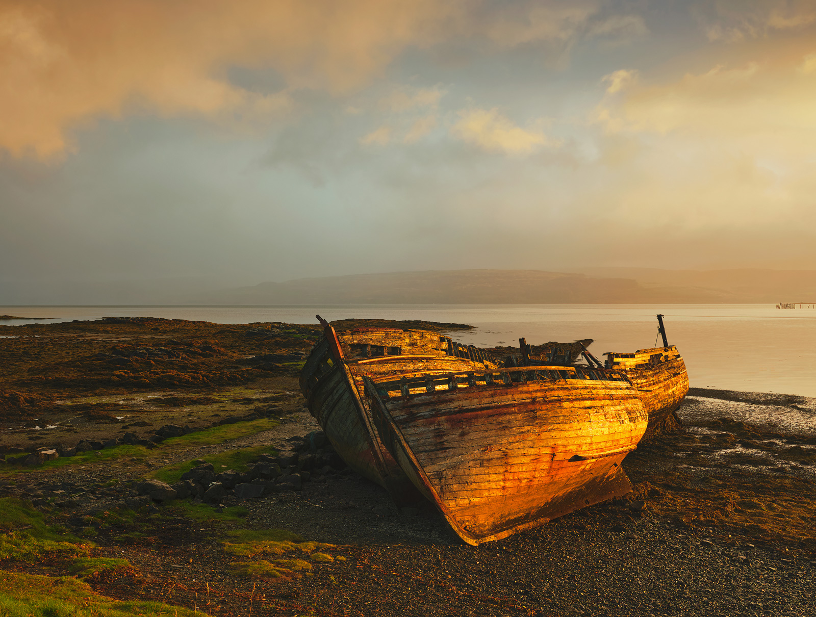 Gold Relics, Salen, Mull, Scotland, wrecked, boats, estuary, rot, elements, golden, light, sunrise, extraordinary, cloud, photo