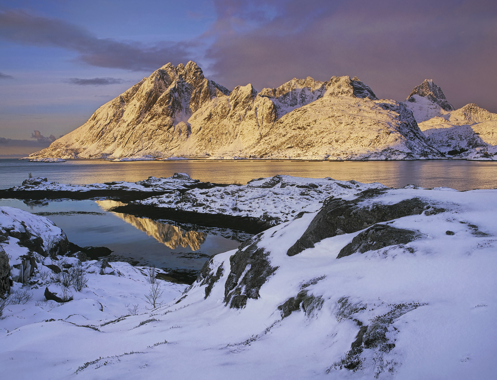 Golden Morning Sund, Sund, Lofoten, Norway, light, spilled, winter, clouds, snow, peak, illuminated, reflected, turquois, photo