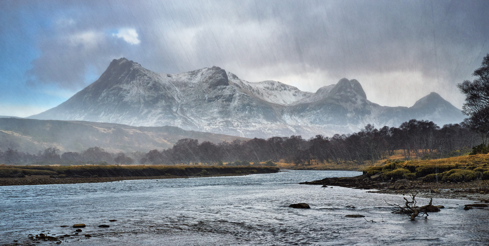 Ben Loyal partially concealed by a veil of thickly falling hail at the river outflow near Tongue.