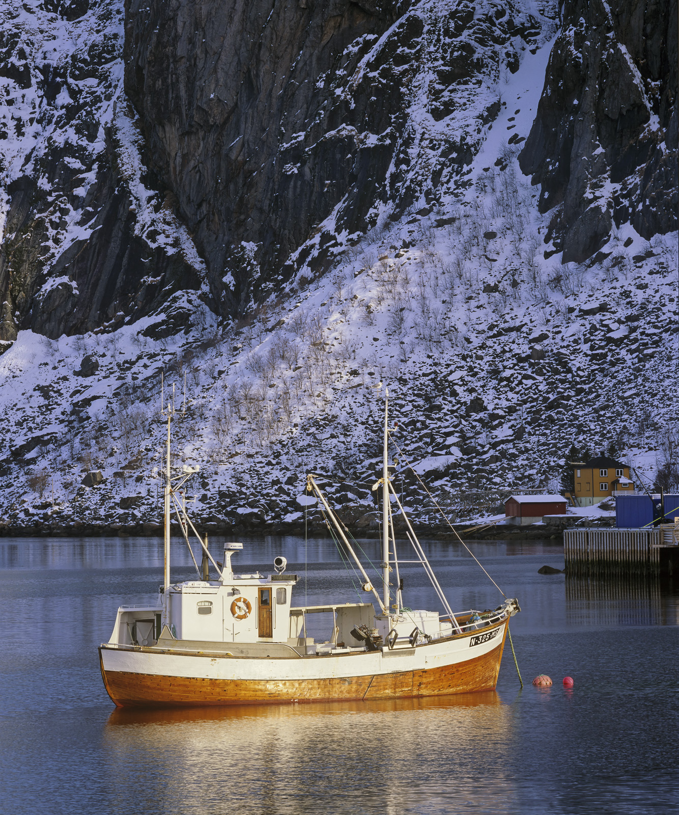 Hamnoy Gold, Hamnoy, Lofoten, Norway, finest, harbour, picturesque, crags, cliff, fishing, boat, golden, sunlight, buoys, photo