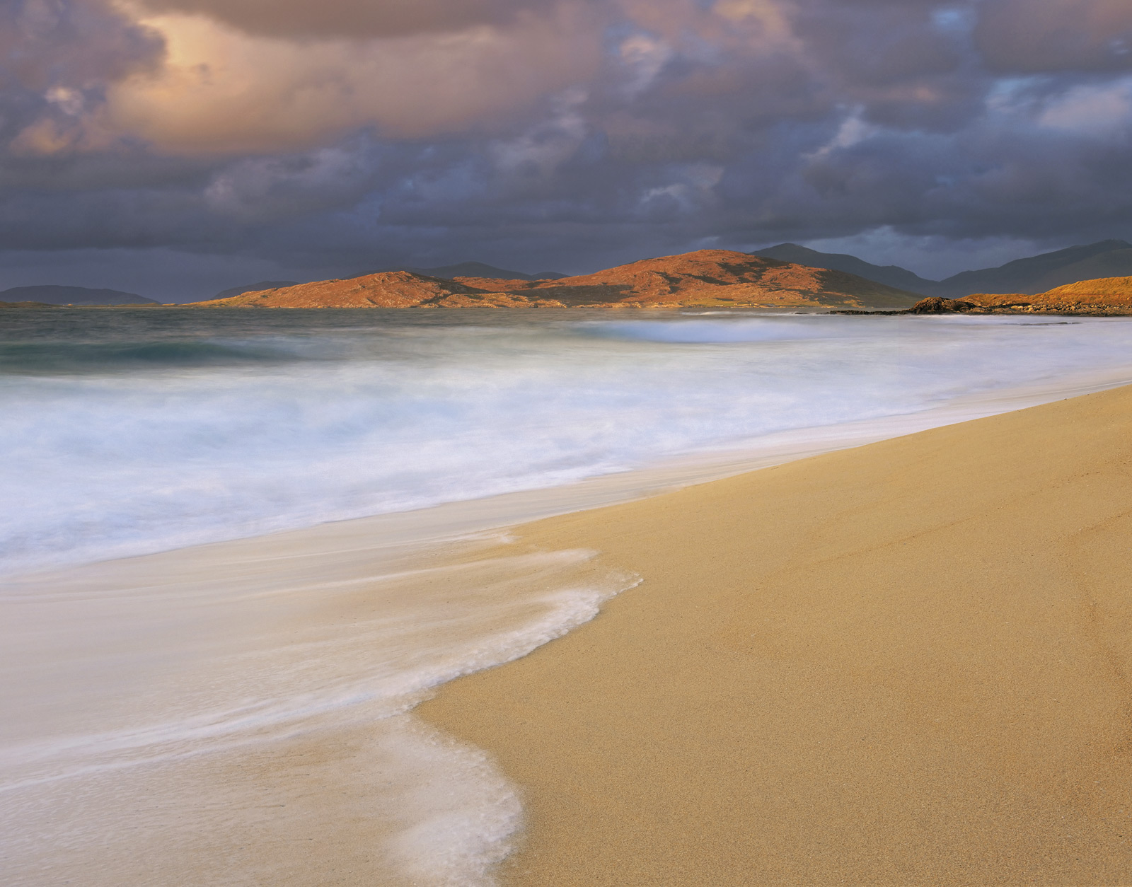 Just prior to an Atlantic storm bursting onto Traigh Mhor beach some of the finest light I have ever experienced washed over...