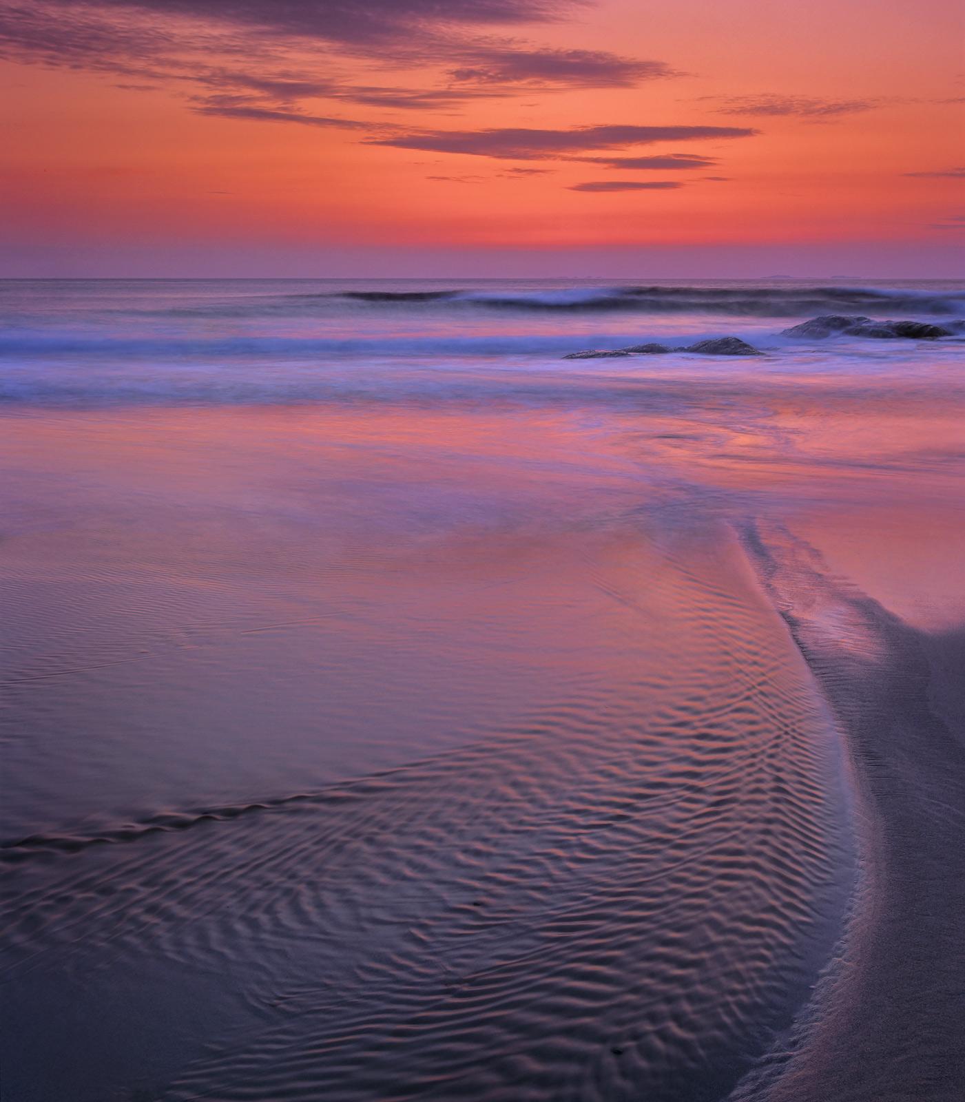 Hosta Sunset, Hosta, North Uist, Scotland, sand dunes, stream, cutting, sandy, beach, geological, rocks, red, sunset, pa, photo