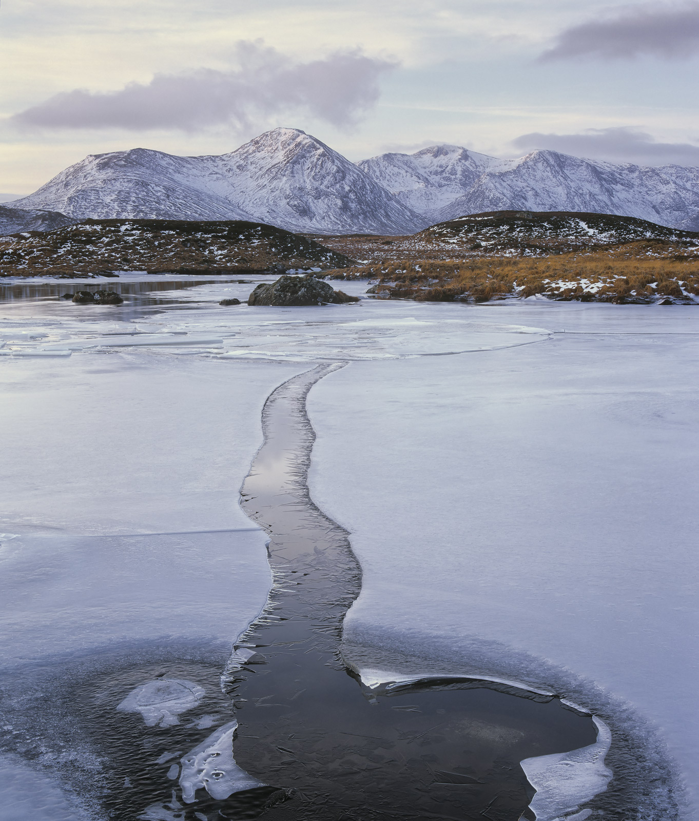 Ice Channel Rannoch, Rannoch Moor, Glencoe, Scotland, gap, ice, sheet, lochans, Blackmount, snow, water , photo