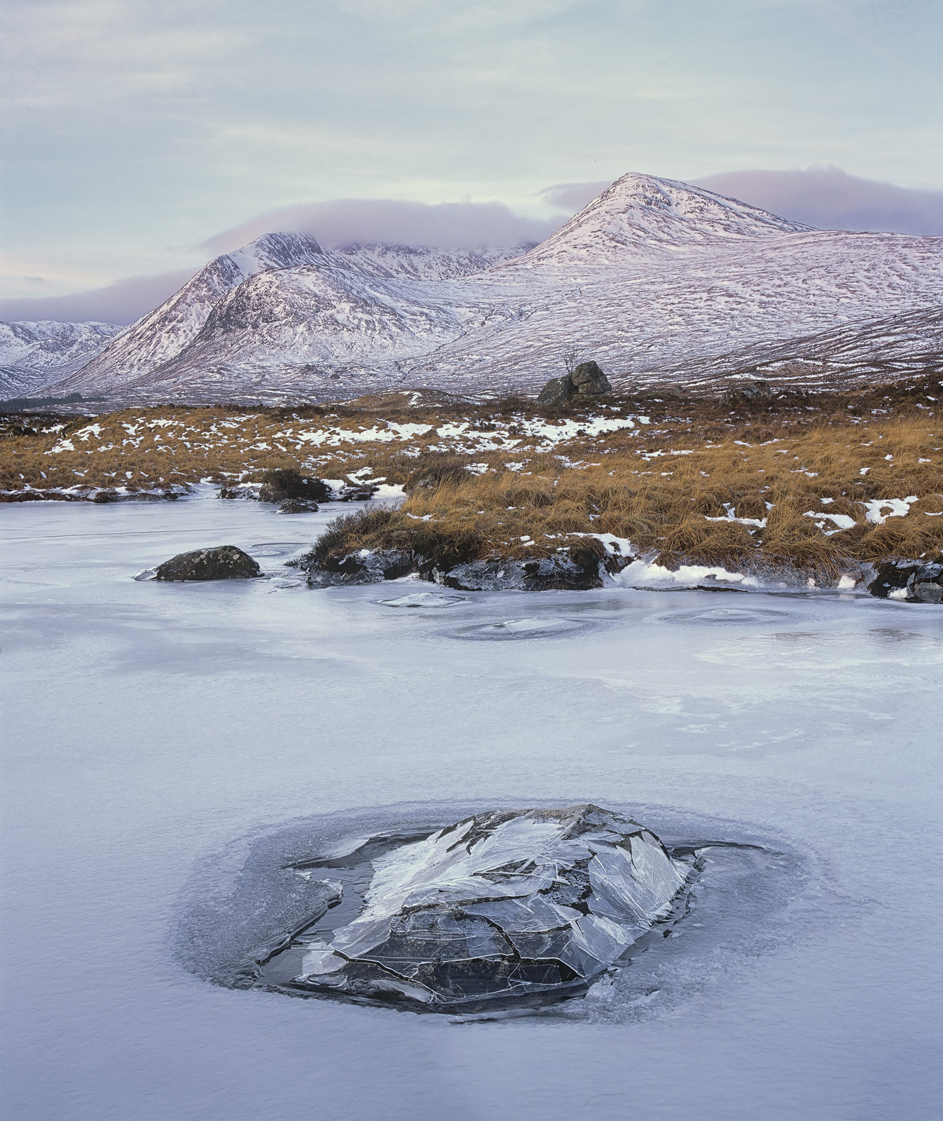 When winter weather sets in on Rannoch moor the water table rises and covers up many of the isolated rocks that protrude from...