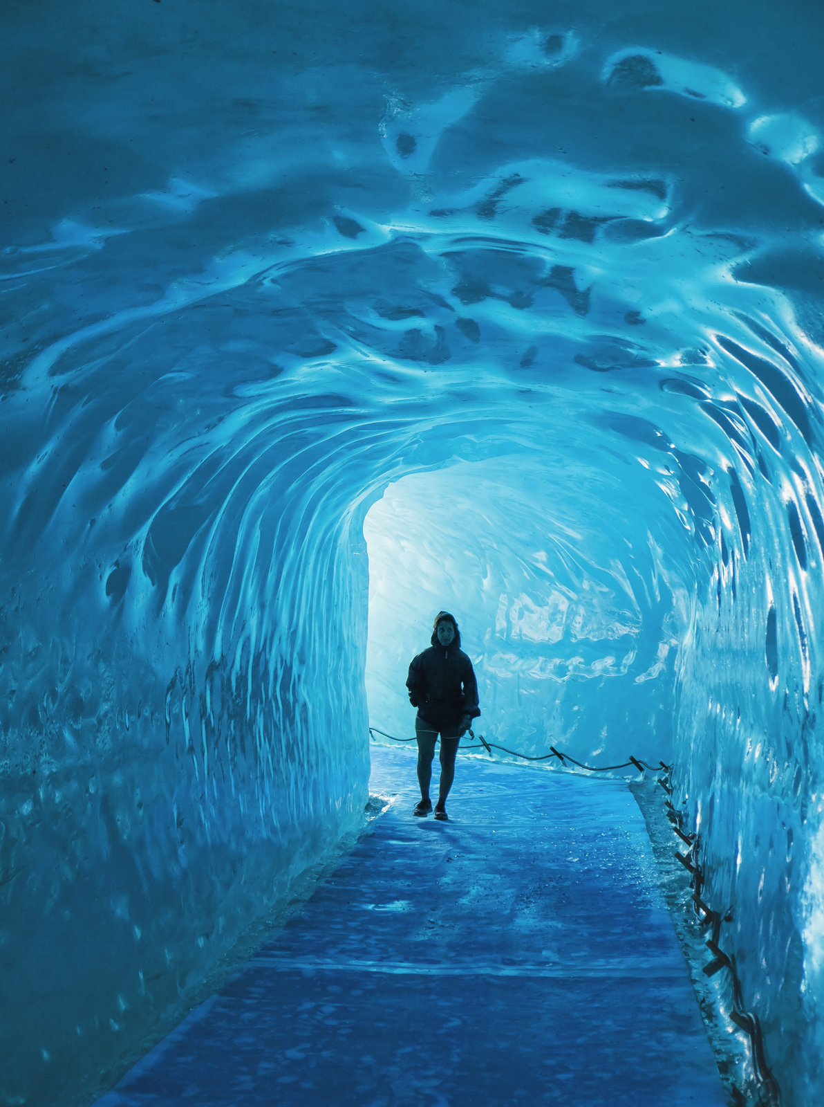 Ice Tunnel, Mer De Glace, Chamonix, France,ice caverns, glacier, compressed, blue, ice, honed, slippery, Mont Blanc Mass, photo