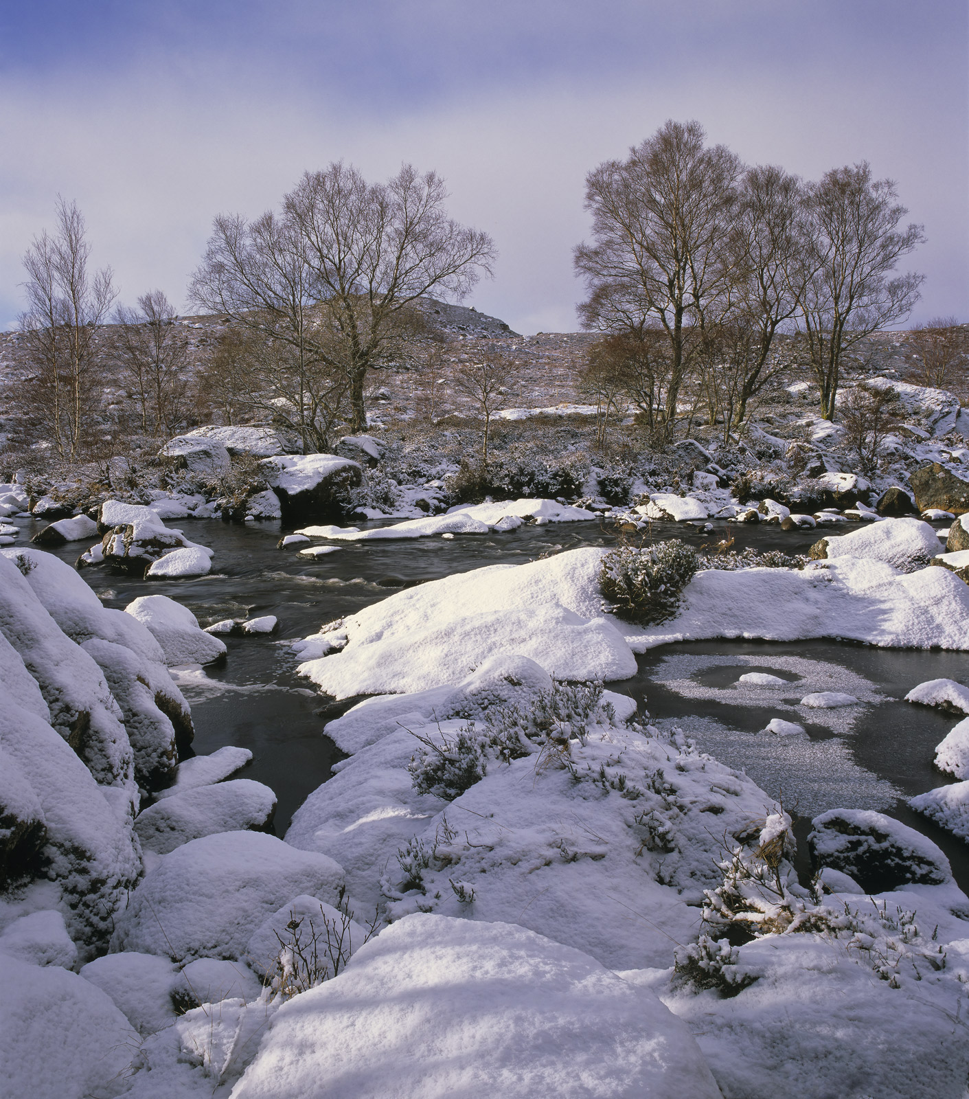 Ice Water Glascarnoch, Glascarnoch, Highland, Scotland, river,  tumbles, moor, ice, snow, free flowing, hazy, clouds  , photo