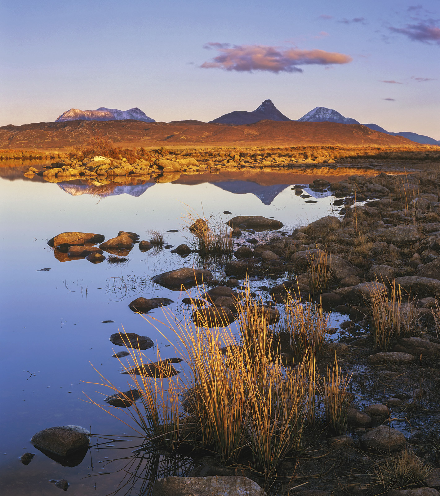 Inverpolly Embers, Achnahaird, Inverpolly, Scotland, lochan, golden, winter, still, sunset, blue, sky, colours, grasses,, photo