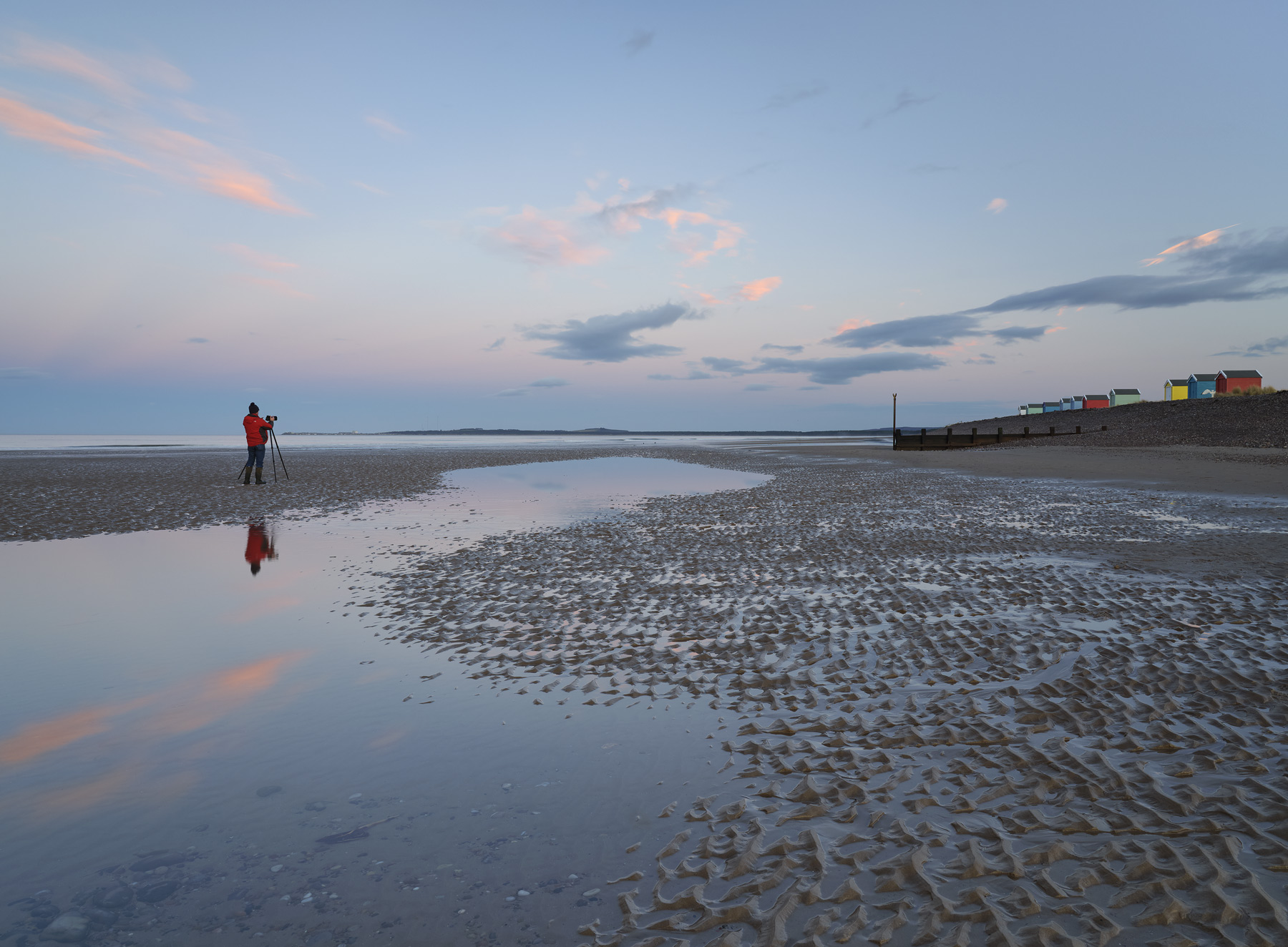 Jim'll Fix It, Findhorn, Moray, Scotland, horizon, pink, Earth's shadow, alignment, beach, reflection, figure, red jacke, photo