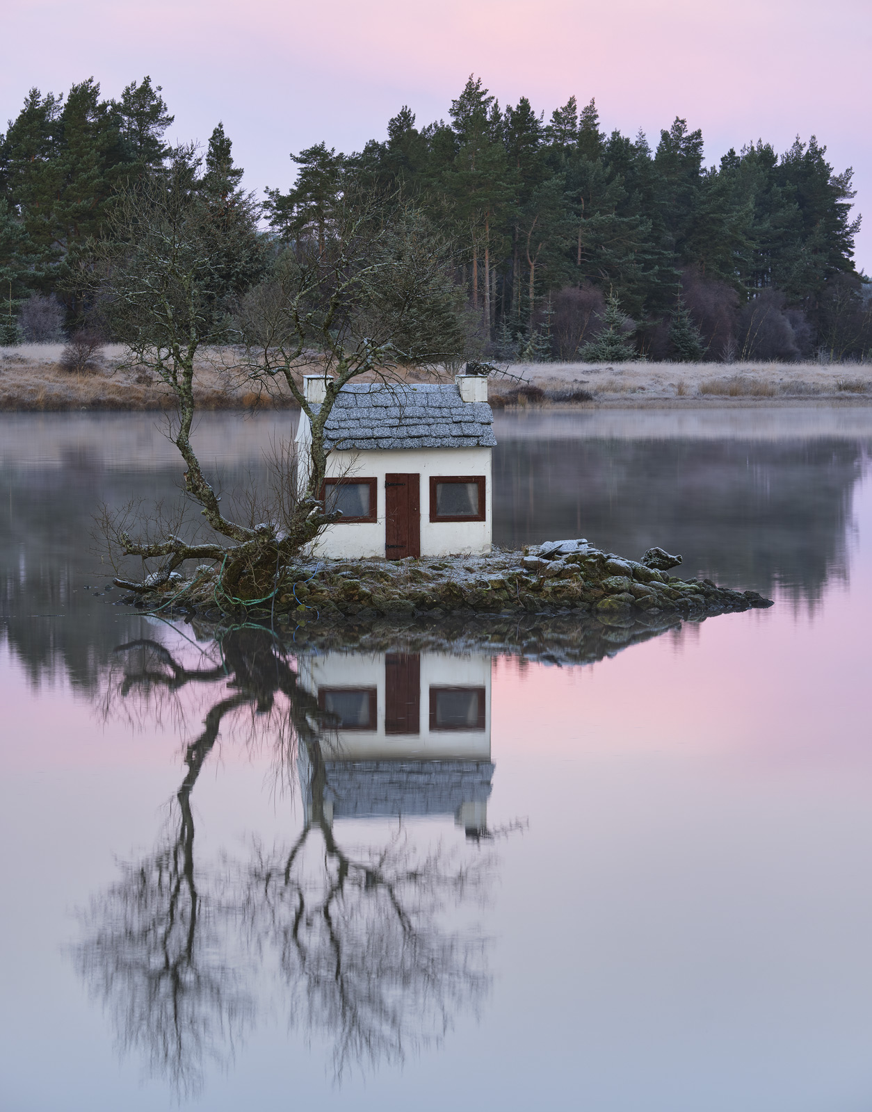 Lairg Folly Winter, Lairg, Sutherland, Scotland, bizarre, dolls house, island, reflection, frosted, chimney, window ligh, photo
