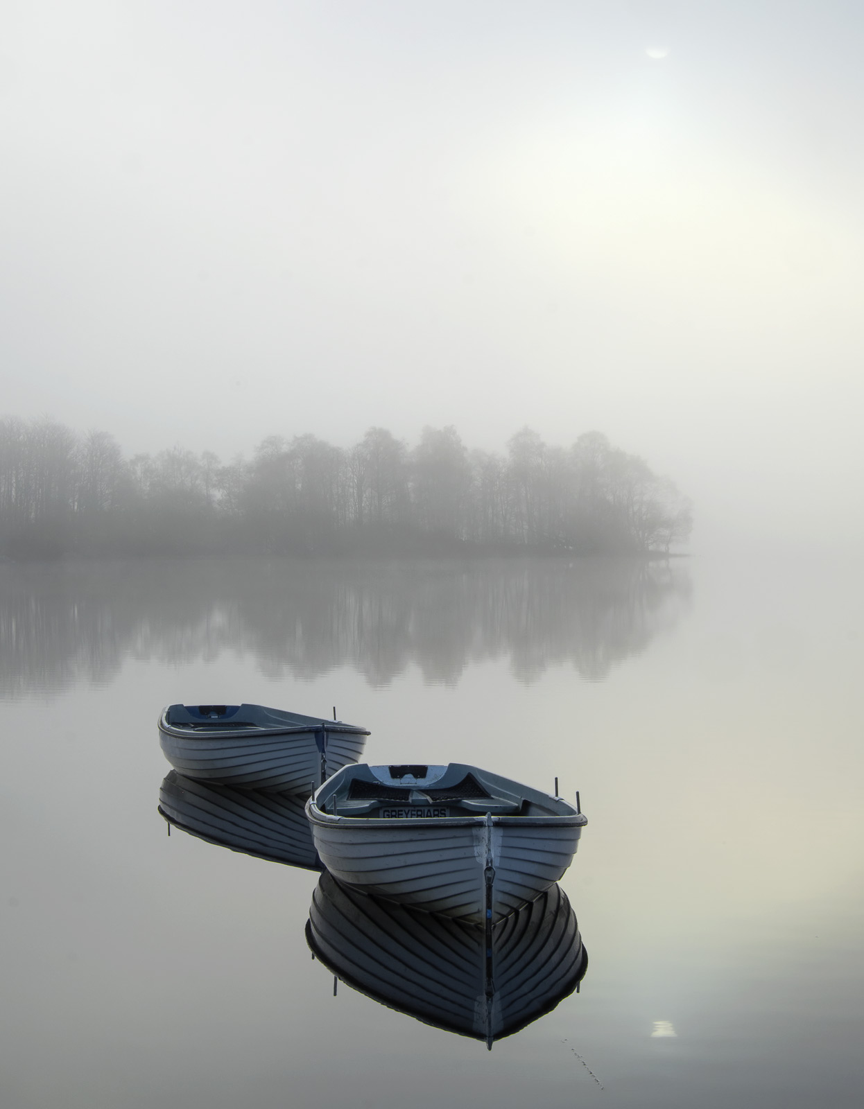 Languid Rusky 2, Loch Rusky, Trossachs, Scotland, mist, gorgeous, magic, morning, sun, partially concealed, pale blue, b, photo