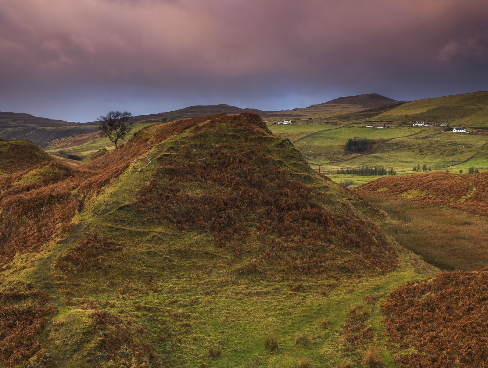 Gorgeous last minute light filtered its way beneath a lurid sky over the Fairy Glen transforming this bizarre landscape of conical...