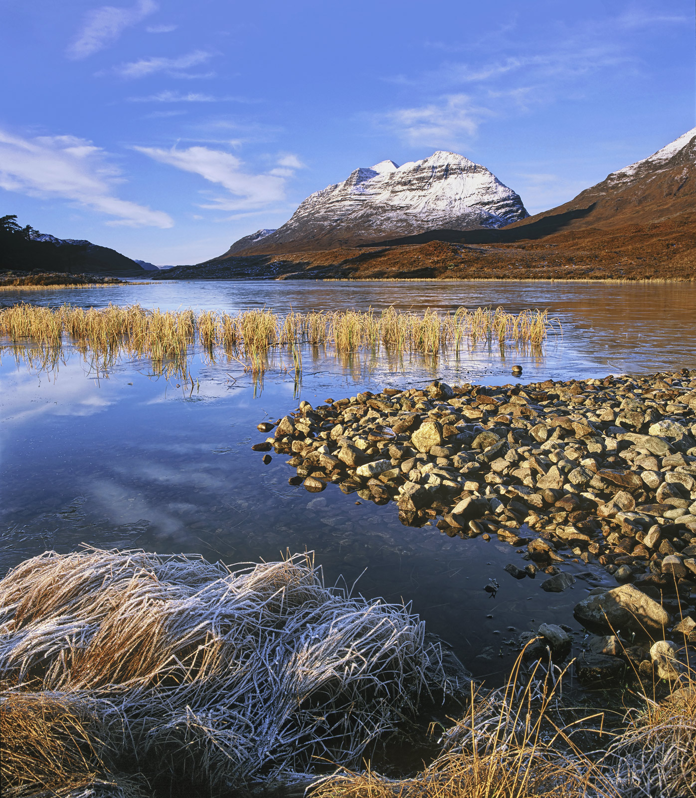 Liathach Chilled, Loch Clair, Torridon, Scotland, snow, peak, reflected, ice, blue, cloud, gold, reeds, frosted, mountai, photo
