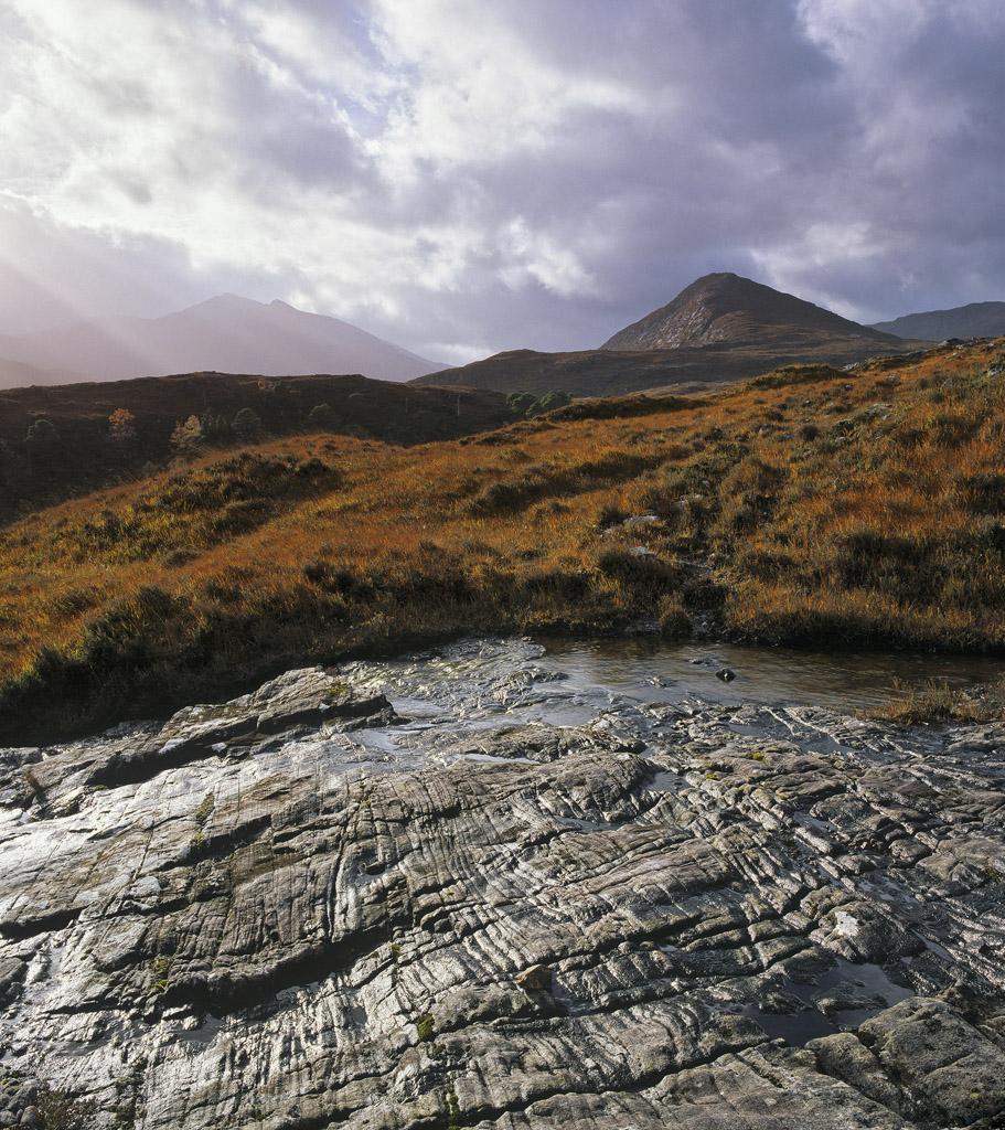 Light O'er Hills, Strathfarrar, Highland, Scotland, shining, slab, bedrock, sunlight, cloud, deer grass, autumnal, colou, photo