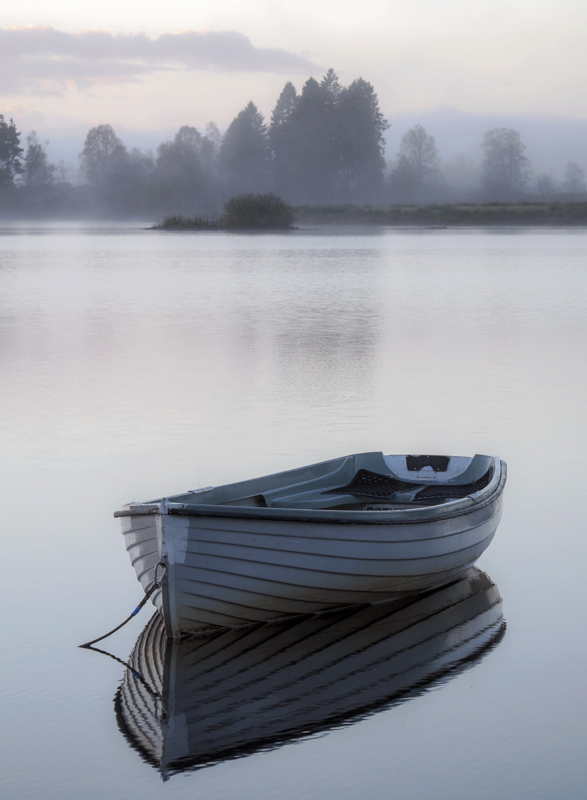 A gorgeous misty backdrop of birch pine and beech complement the magical stillness of the pale blue rowing boat floating on mirror...
