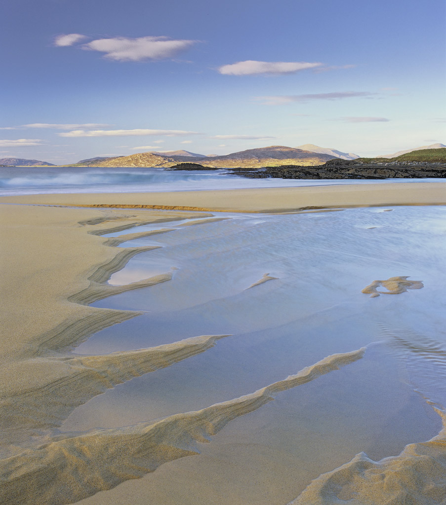 Low Tide Traigh Mhor, Traigh Mhor, Harris, Scotland, evening, sunset, islands, peaks, clean, coarse, grained, orange, sa, photo