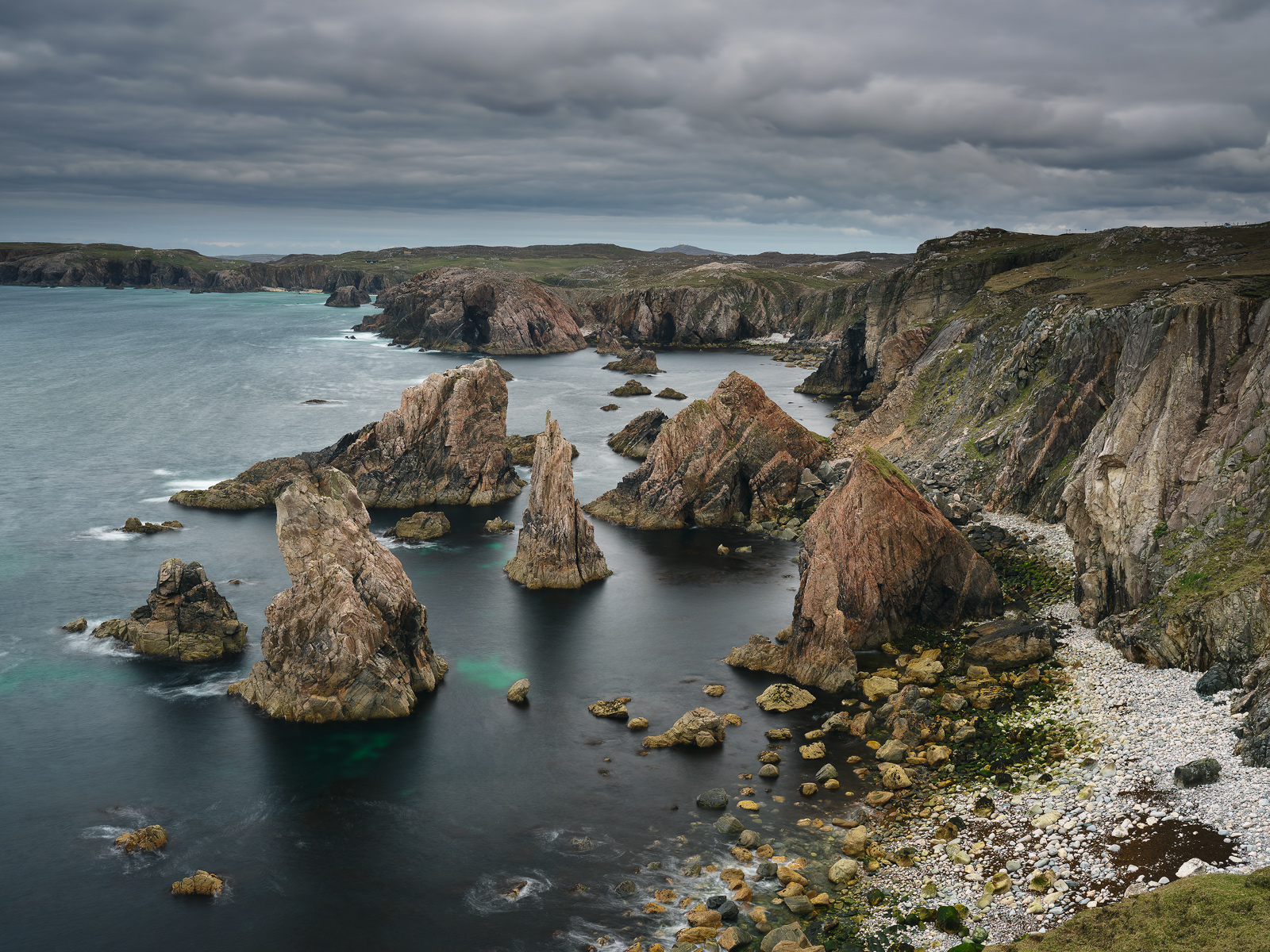 The vicious looking stacks at Mangerstadh on Lewis are very dramatic particularly when a huge west coast sea crashes against them.