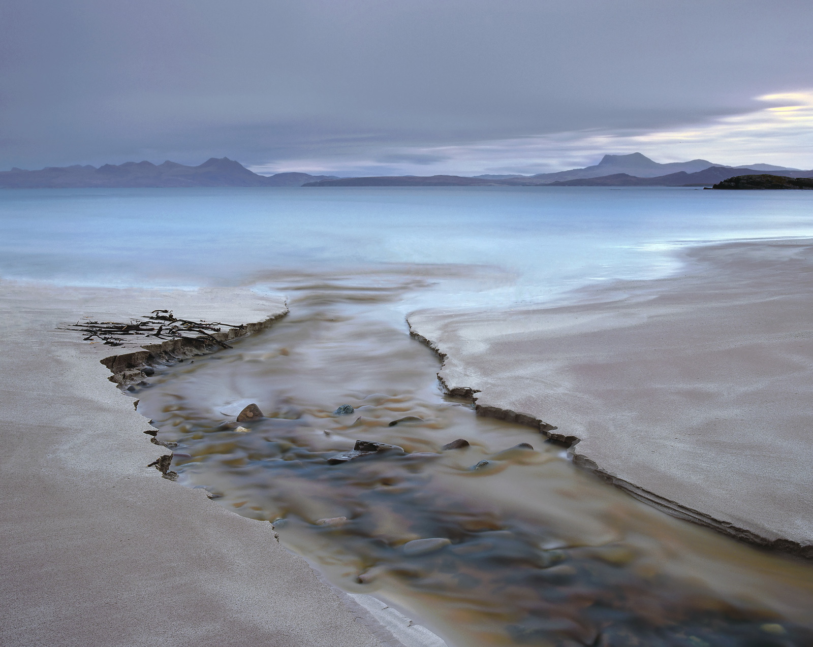 There are two peat streams that cut a new track through the red sands of Mellon Udrigle. This one usually is the most interesting...