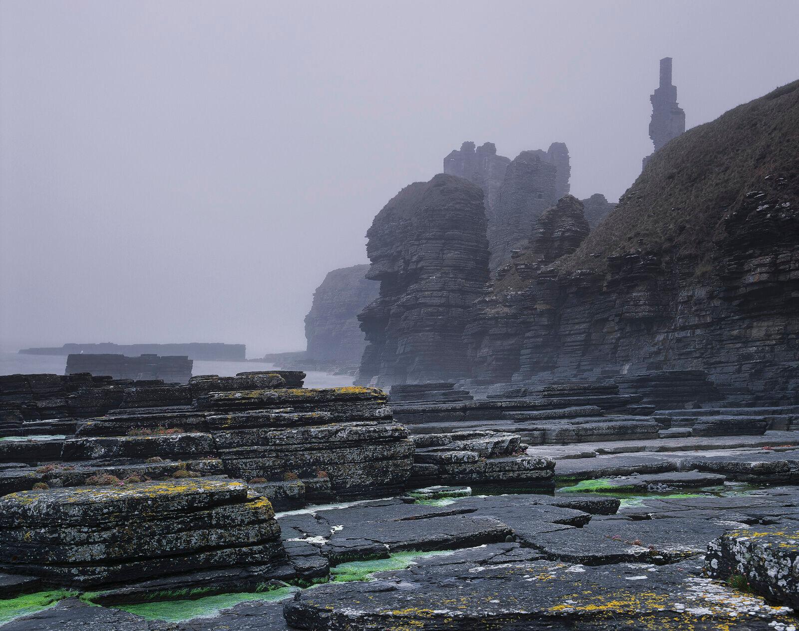 Misty Castle Girnigoe, Noss Head, Caithness, Scotland, lighthouse, Wick, ruined, castle, cliffs, cleaved, mist, rock, li, photo