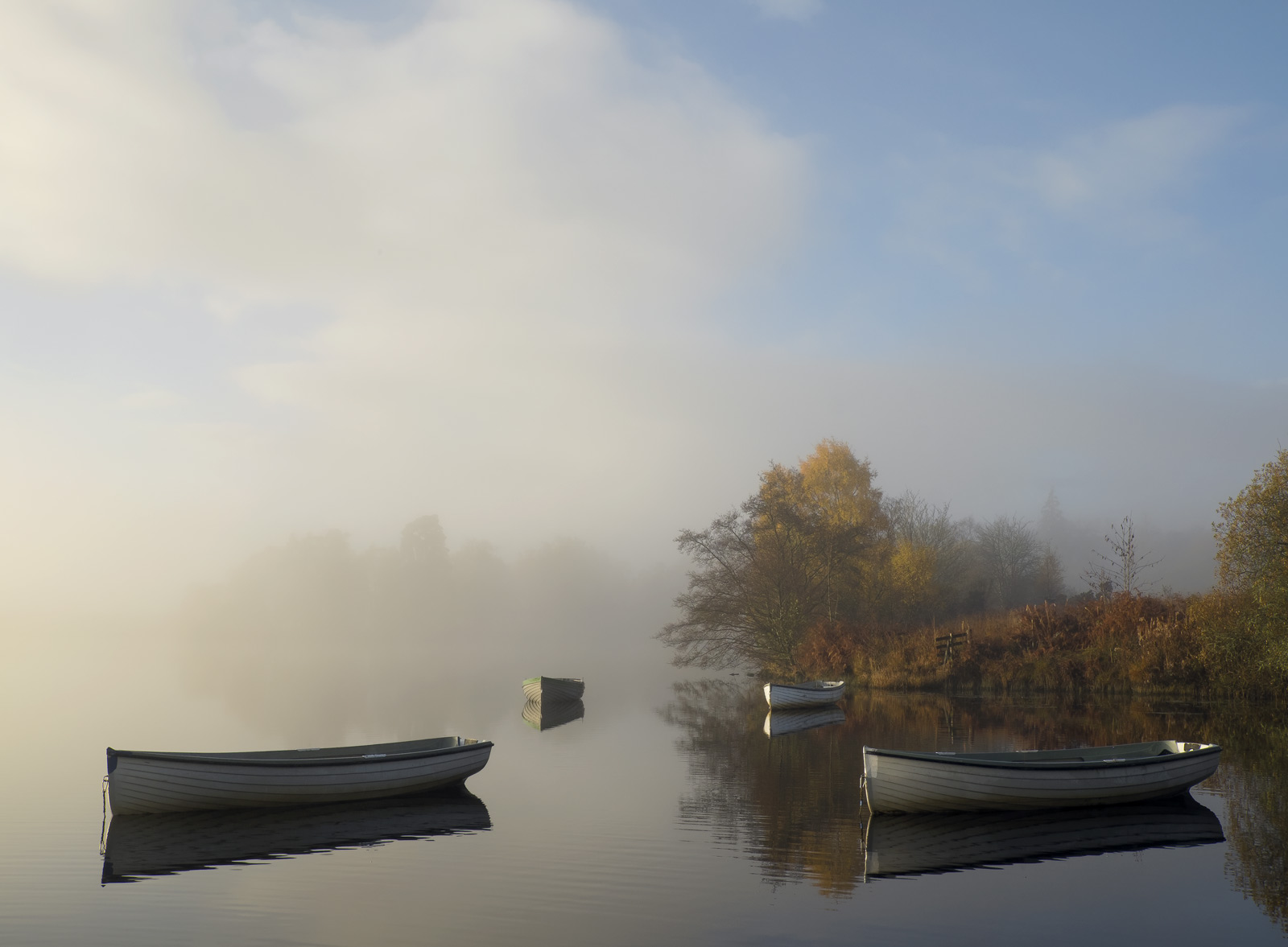 Misty Corner 3, Loch Rusky, Trossachs, Scotland, delightful communual, meeting, blue, row boats, angling, autumn, mist, , photo