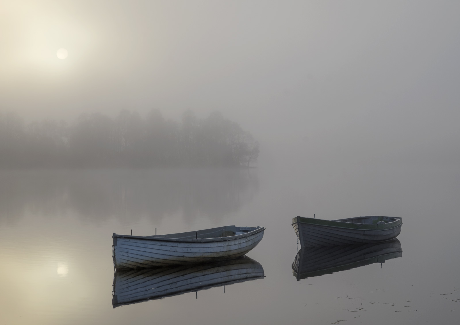 Misty Sunrise Rusky 1, Loch Rusky, Trossachs, Scotland, magical, mist, parted, partially suns, orb, reflection, blue boa, photo