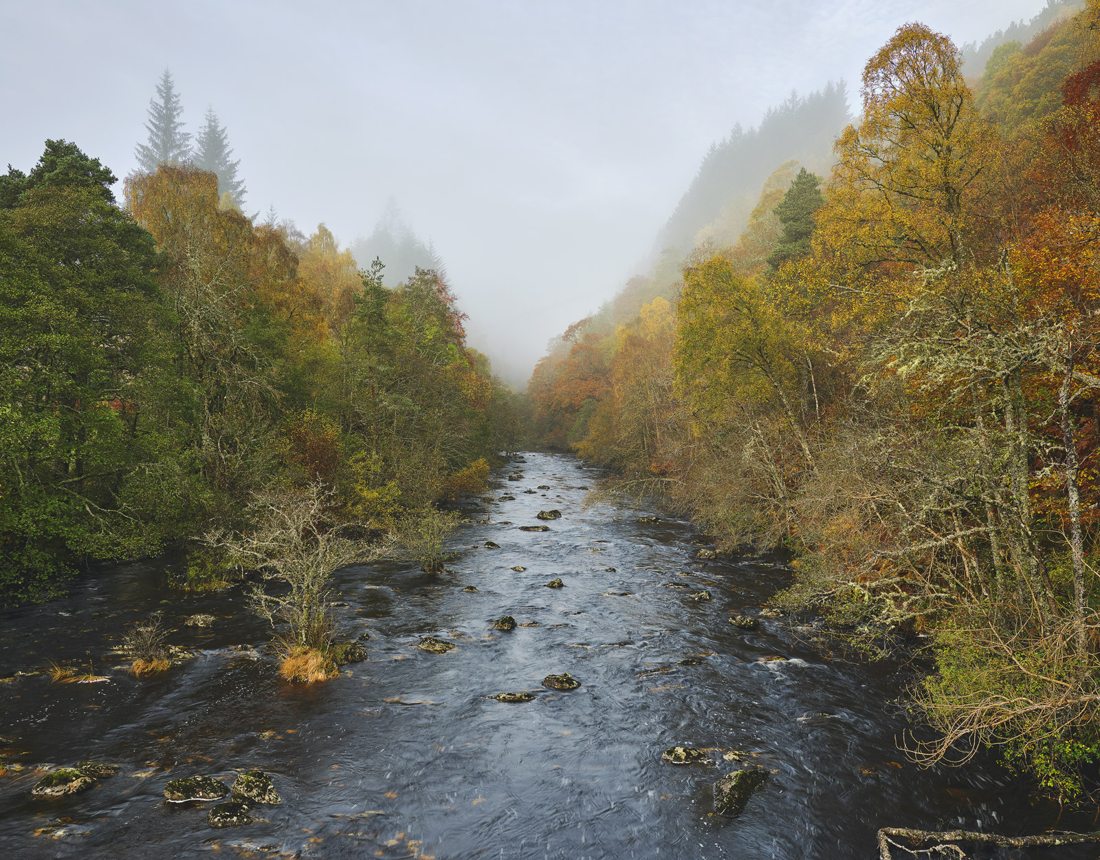 Misty River Cannich, Glen Cannich, Highlands, Scotland, hamlet, river, advection, mist, shine, textural, translucent , photo