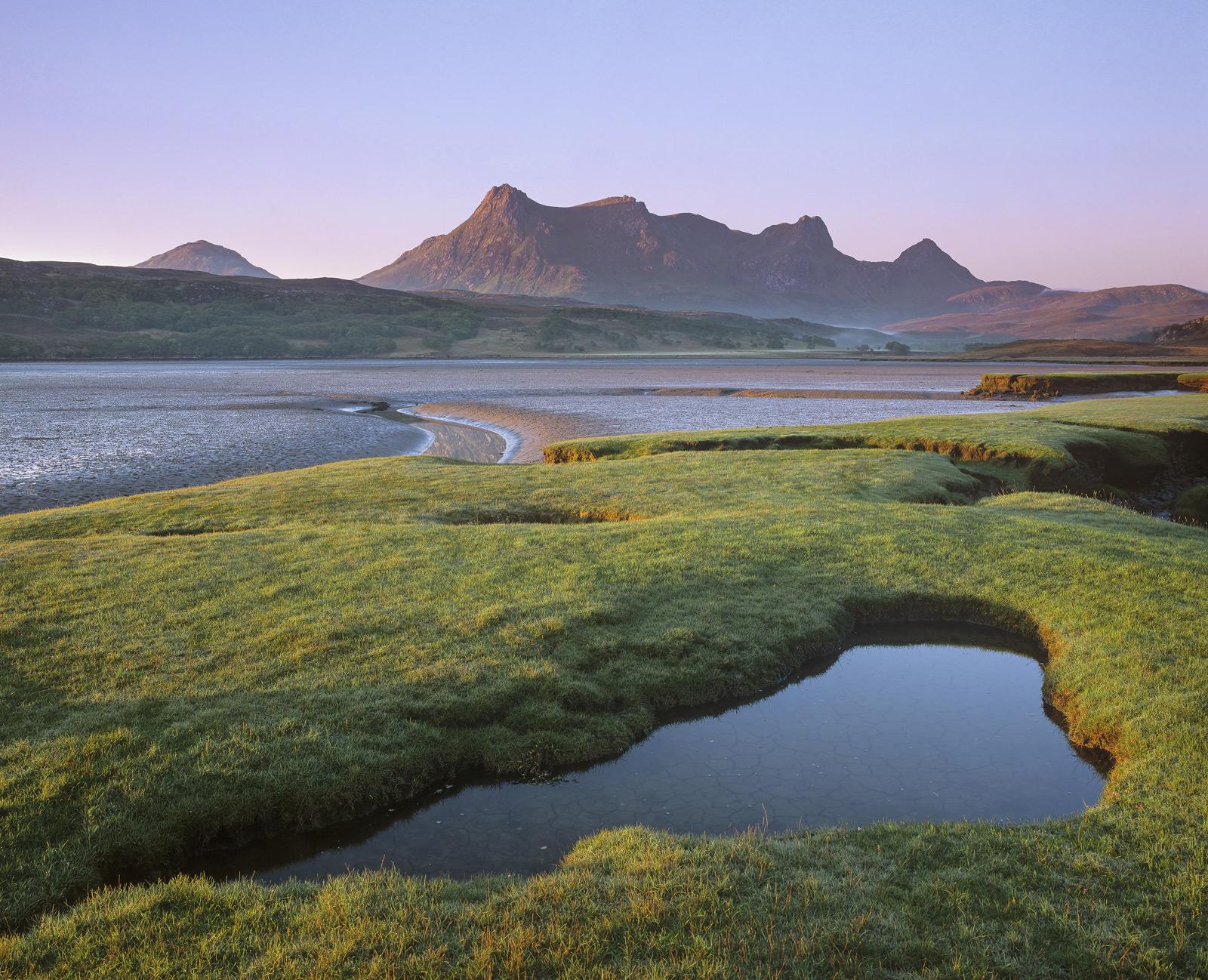 Misty Sunrise Tongue, Tongue, Sutherland, Scotland, estuary, tidal, Ben Loyal, rocky, serated, peaks, salt marshes, sunr, photo