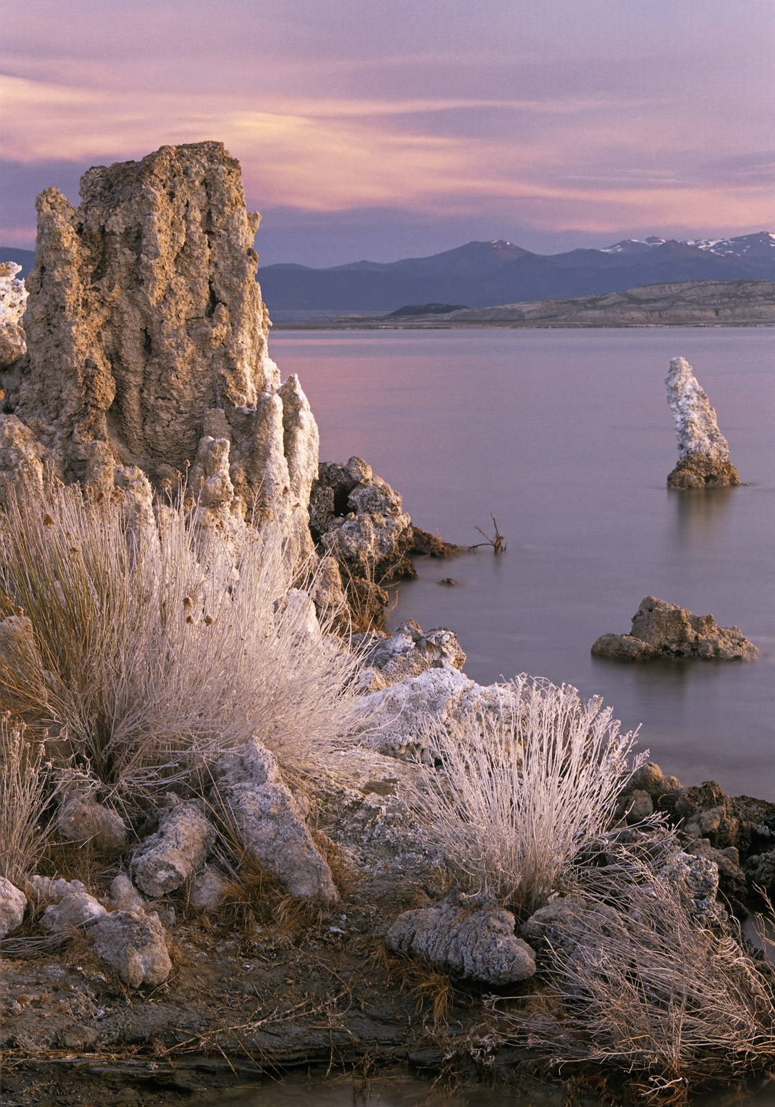 Beautiful calcite towers known as tufas grow from the edges of Mono Lake which is incredibly high in mineral deposits through...