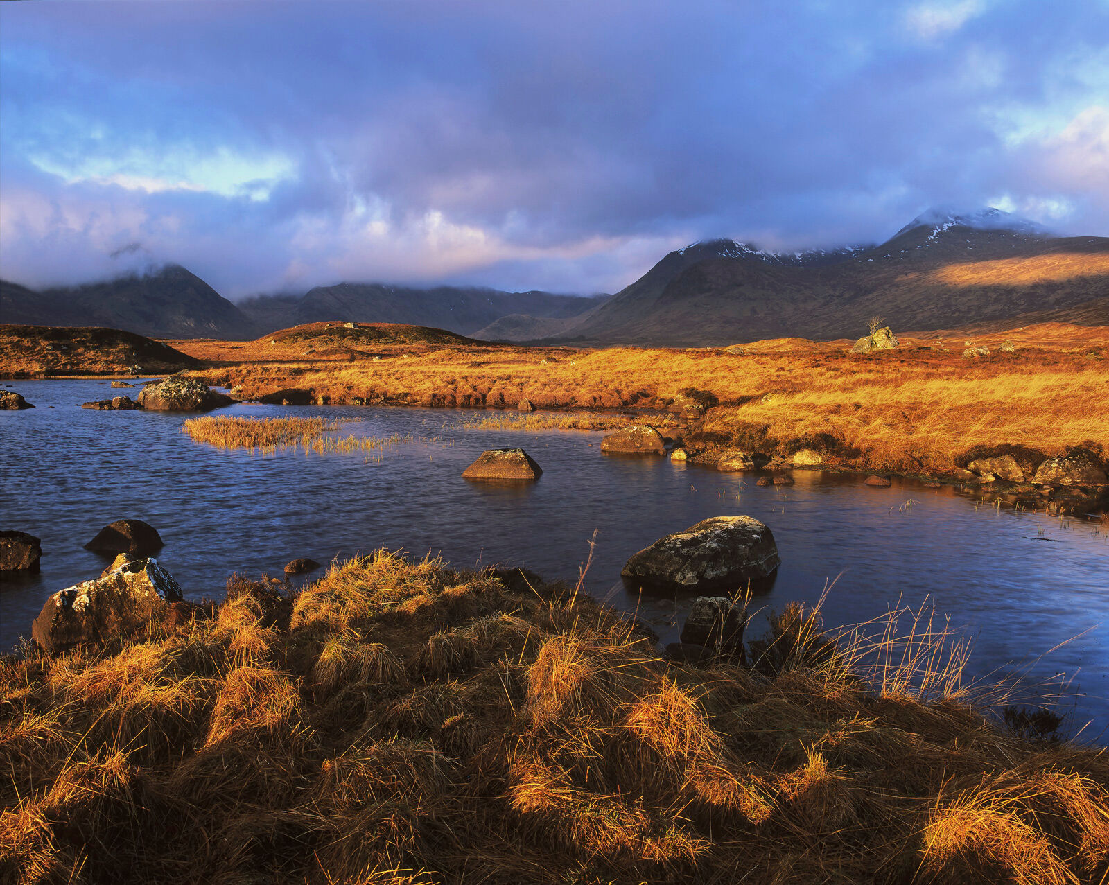 Morning Gold Stainge, Loch Na Stainge, Rannoch Moor, Scotland, autumnal, sunlight, deep, blue, cloudy, sky, intensity, r, photo
