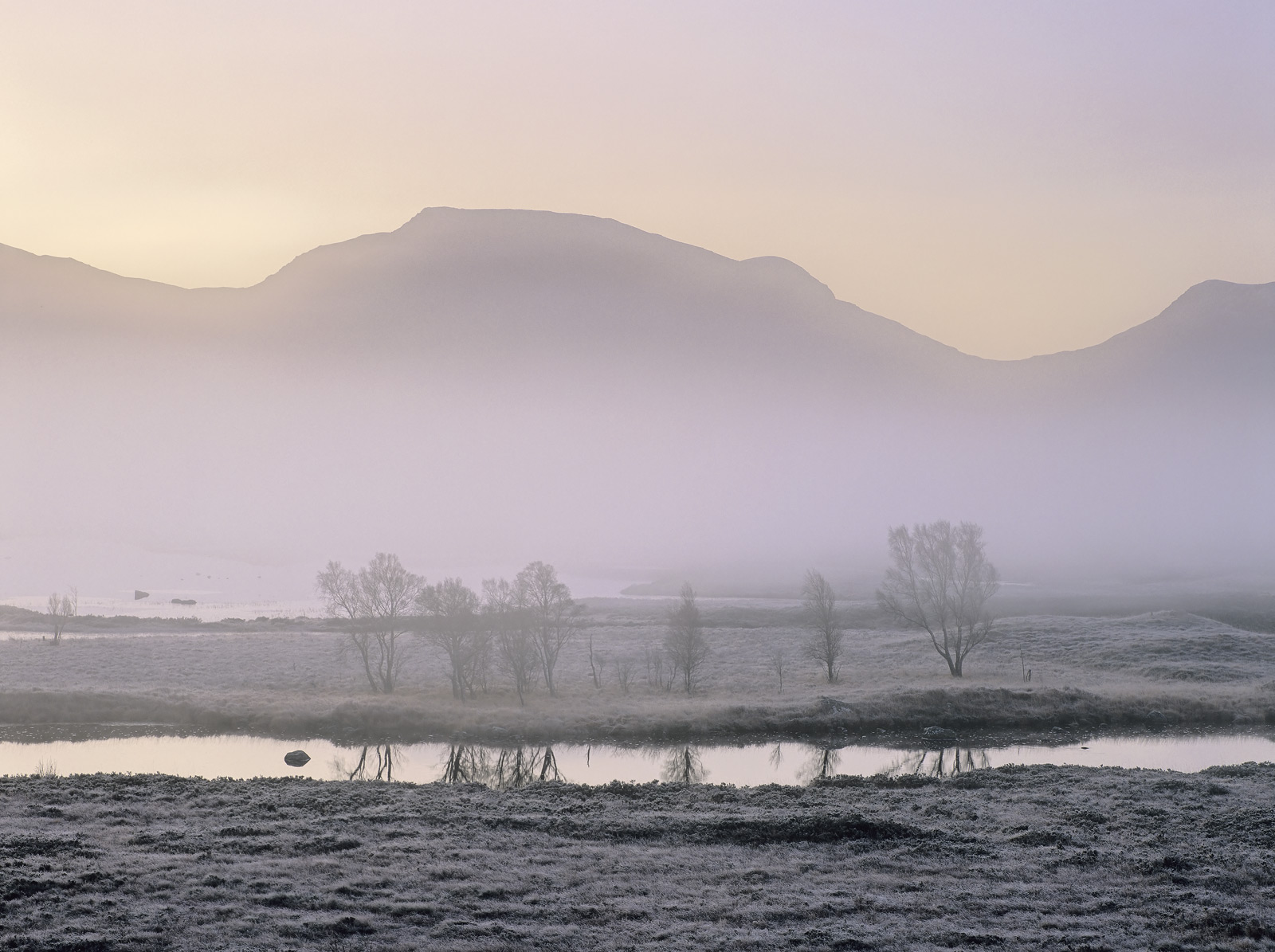 A thin veil of mist hangs in the bowl of Rannoch moor on a frosty and very still winter morning refusing to budge. At the...