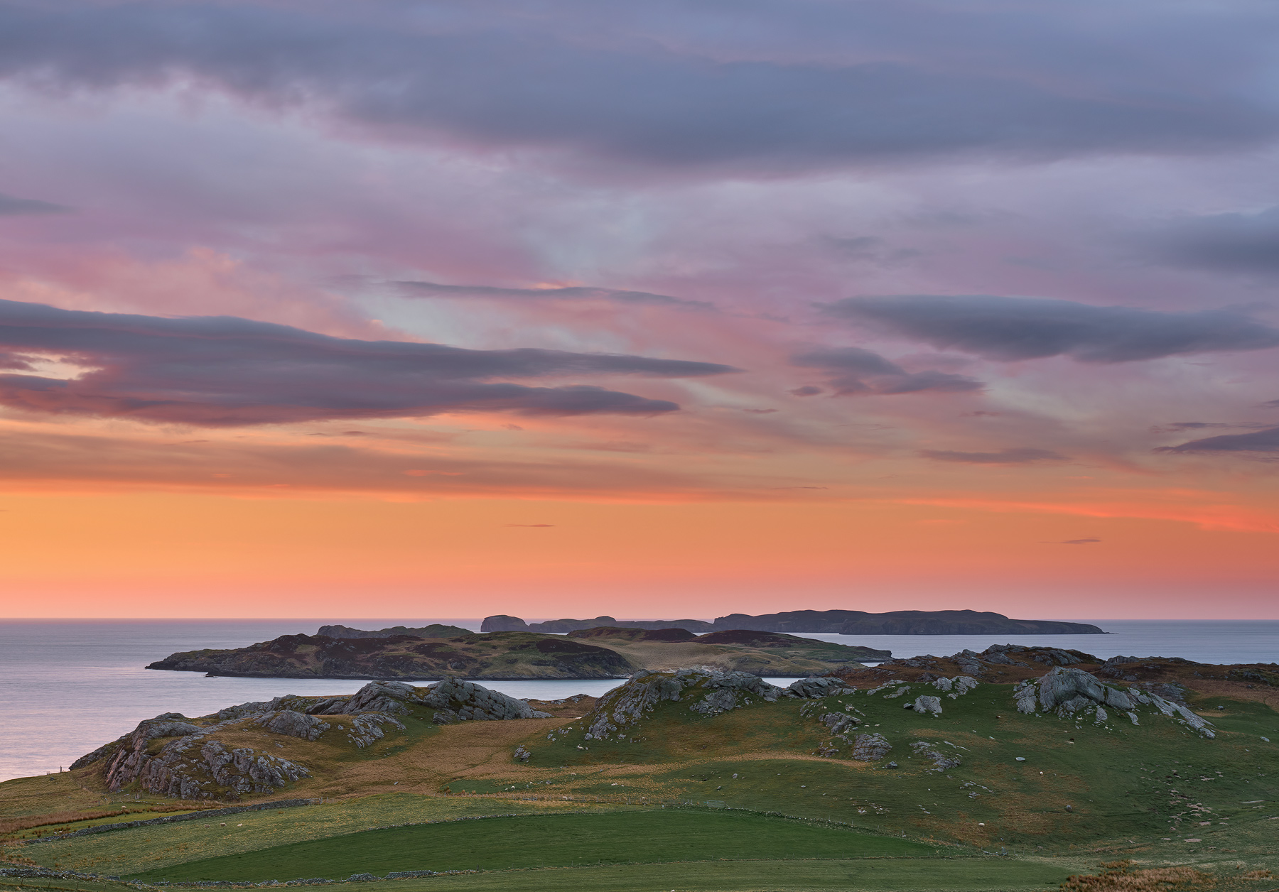 Stunning colours at sunset over Rabbit Island as seen from the viewpoint above Talmine bay in Sutherland.