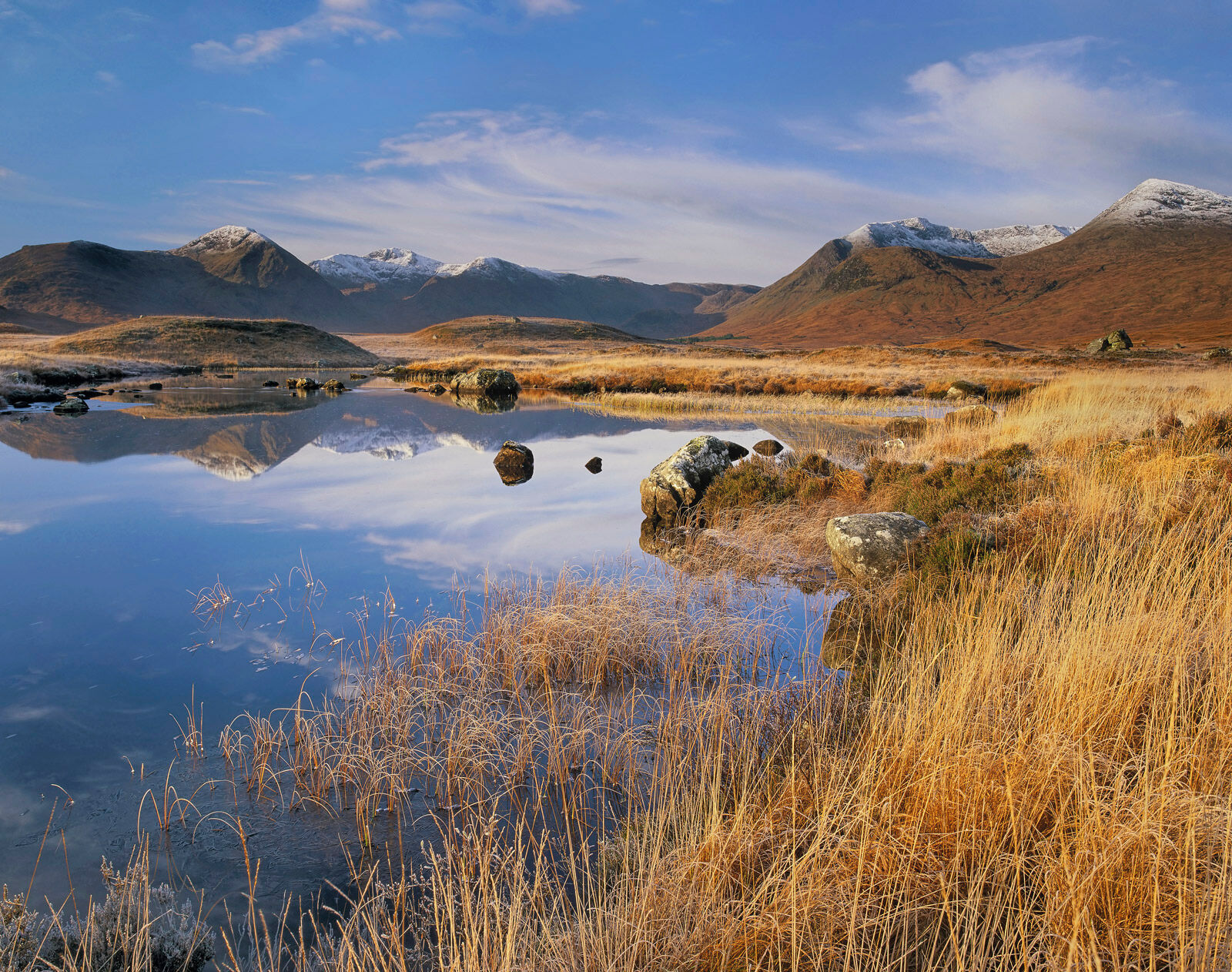 Late autumn progresses inexorably toward winter and the first frosts which stiffen the golden grasses of Loch na Stainge on Rannoch...