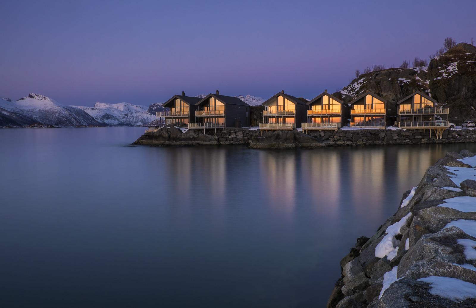 Reflected Afterglow, Hamn i Senja, Senja, Norway, dusk, twilit, blue, deep, electric, sunset, glass, harbour, chalets  , photo