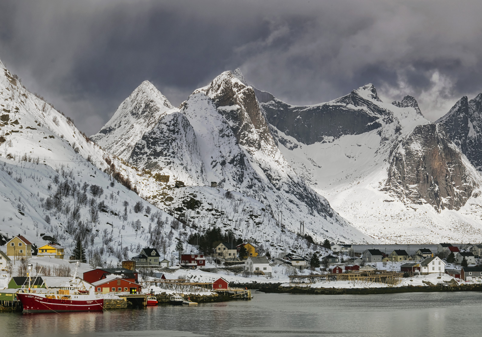 Reine Snow Sublime, Reine, Lofoten, Norway, blizzard, snow, storms, rolled, snow clad peaks, harbour, beautiful, forbidding, sunlight, dappling, mountain, menacing, photo